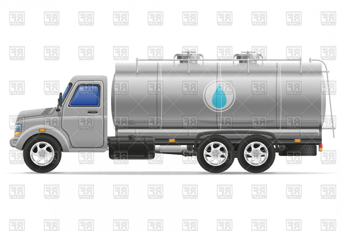 Tank Trucks Vector Art: Tank Truck Gasoline Tanker For Transporting Liquids Vector Clipart