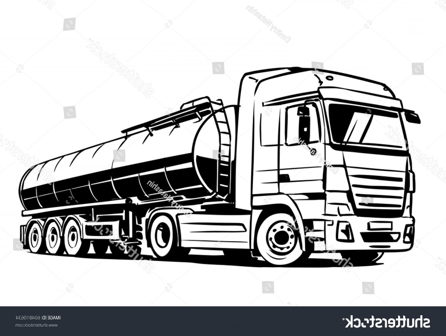 Vector Semi Tanker: Tank Truck Isolated On White