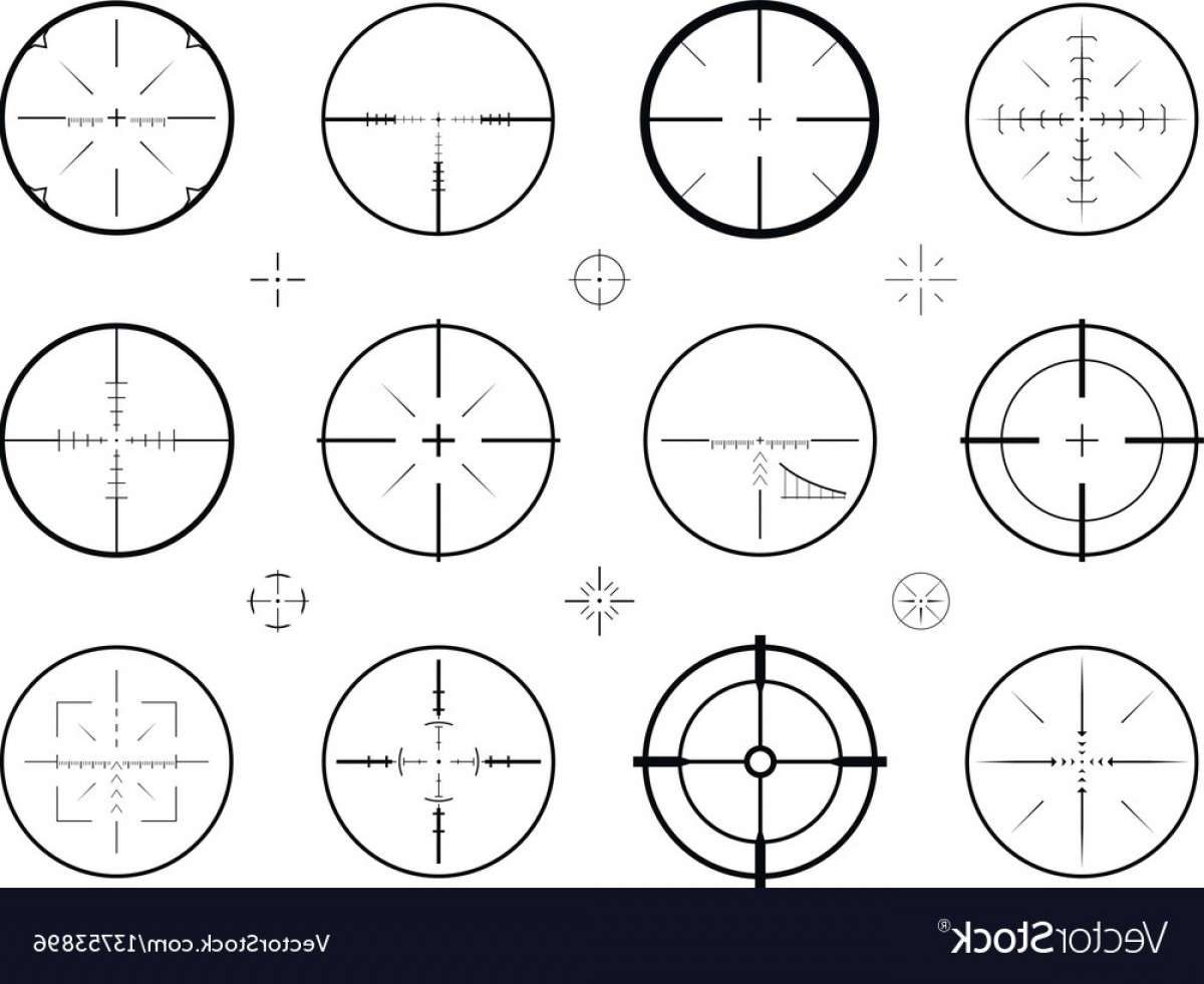 Hunting Rifle Vector Cross: Target Sight Sniper Set Of Icons Hunting Rifle Vector
