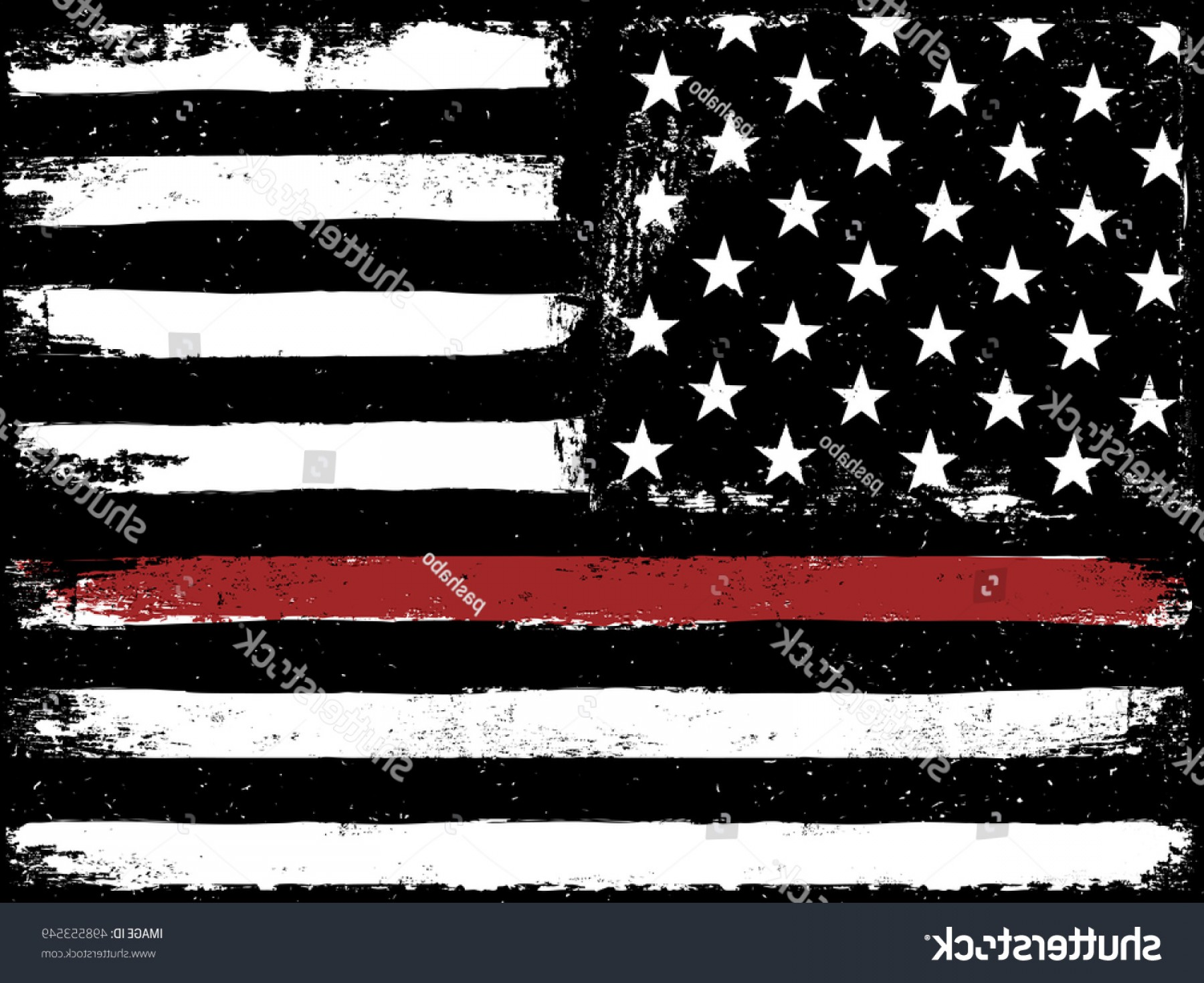 Thin Red Line Distressed Flag Vector: Tattered Flag Red Line Fire