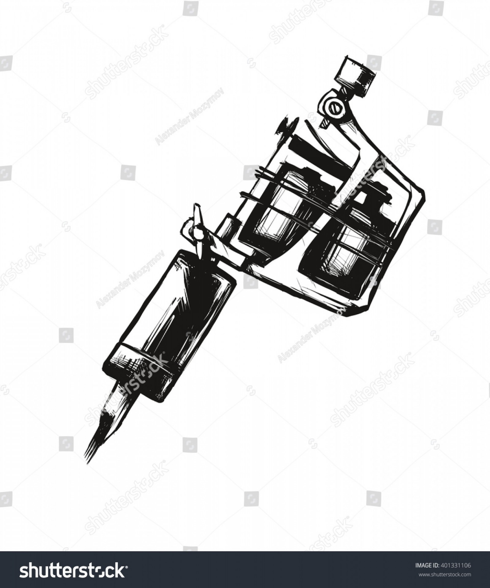 Vector Sport Spot: Tattoo Machine Vector Illustration On White
