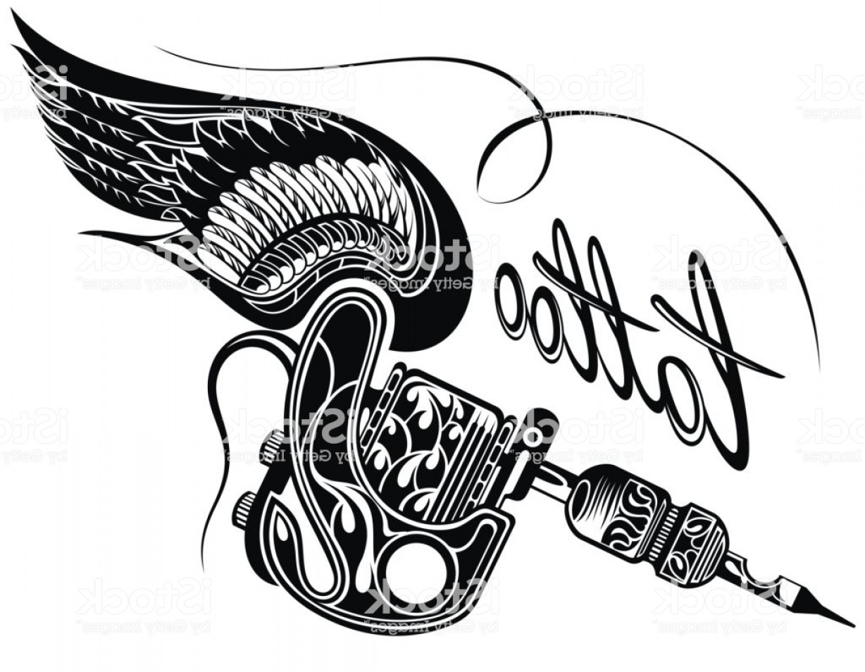 Tattoo Machine Vector Clip Art: Tattoo Machine Withwings Isolated On White Background Gm