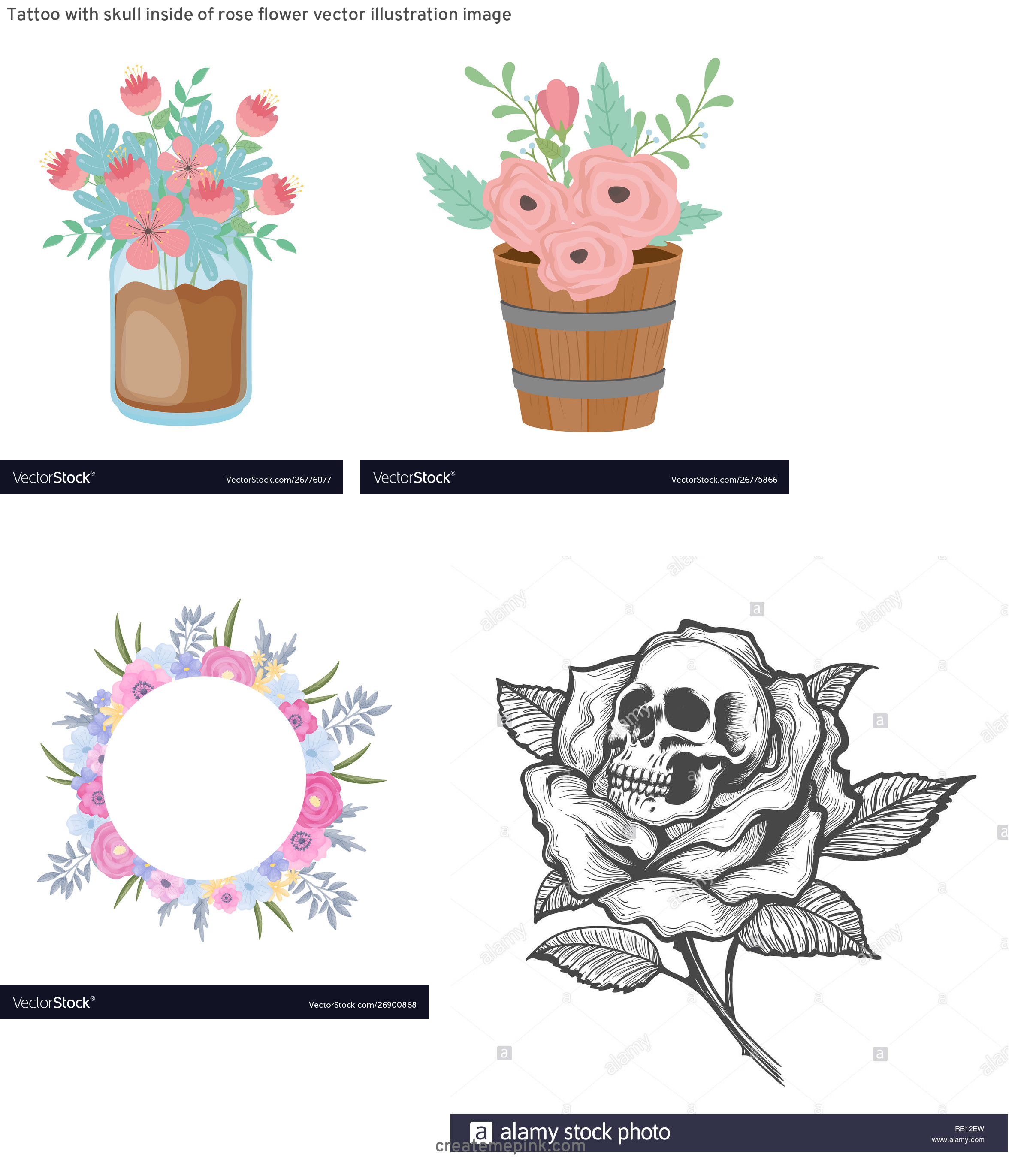 Inside Of Flower Vector: Tattoo With Skull Inside Of Rose Flower Vector Illustration Image