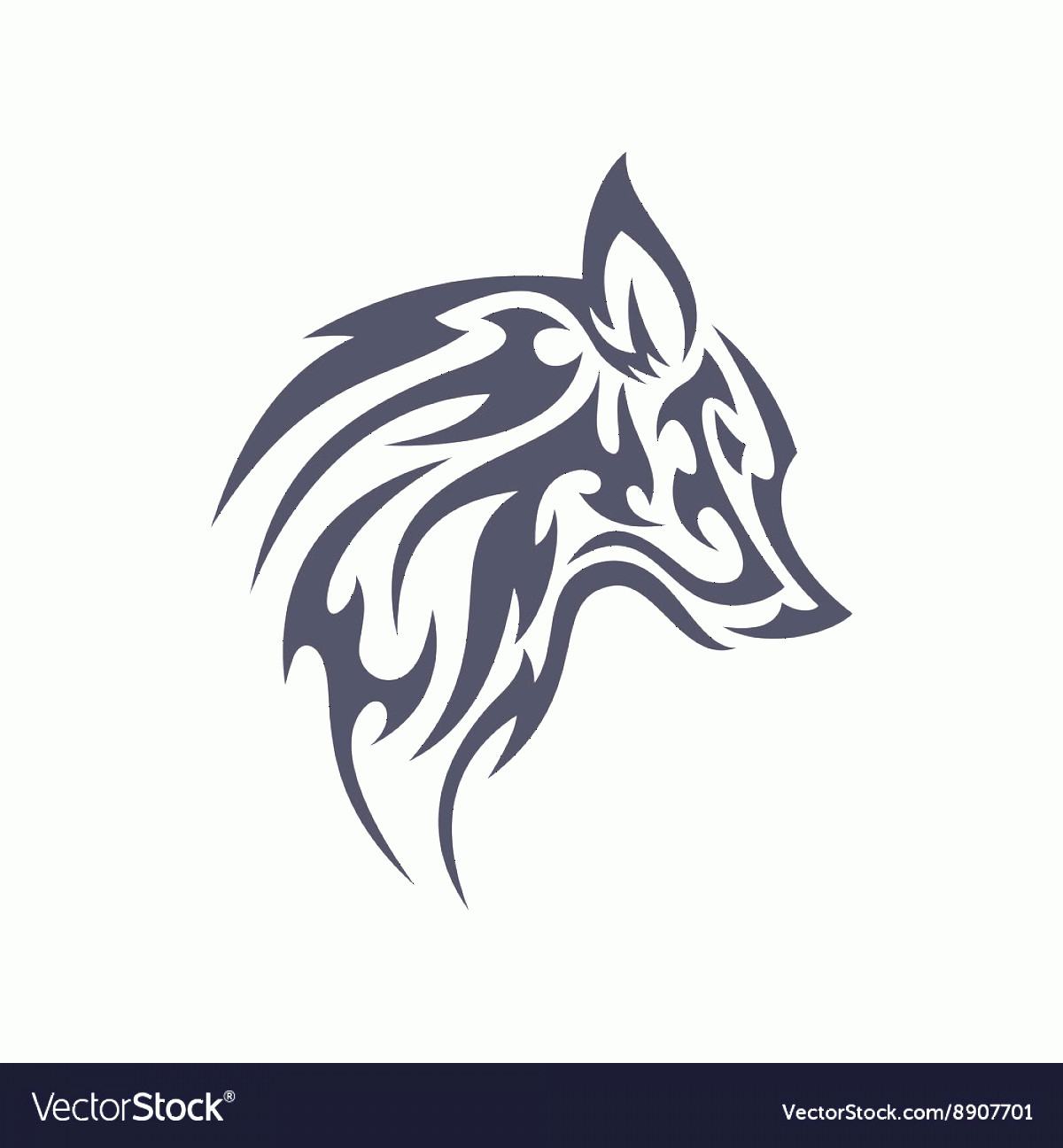 Wolf Vector Logo: Tattoo Wolf Animal Logo For Unique Modern Vector