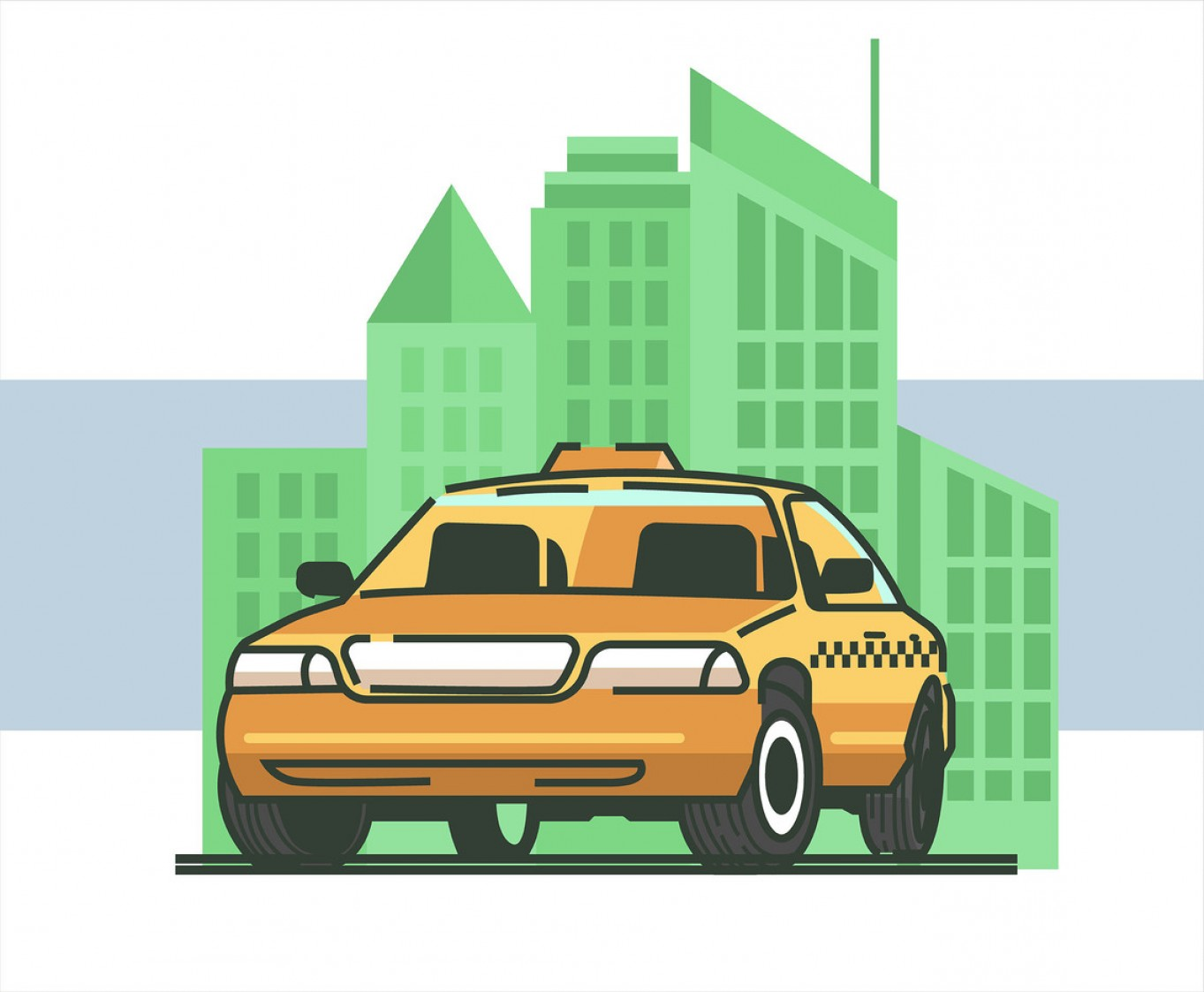 New York Taxi Cab Vector: Taxi Cab Vector In White Background
