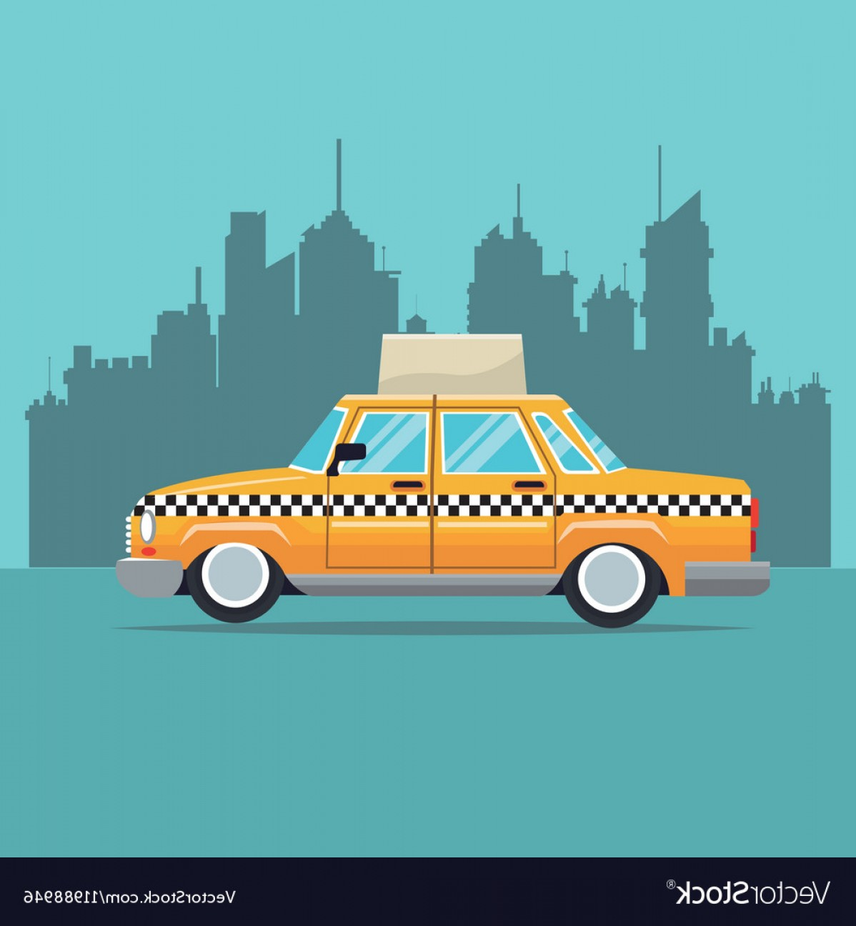 New York Taxi Cab Vector: Taxi Car New York Side View Town Background Vector