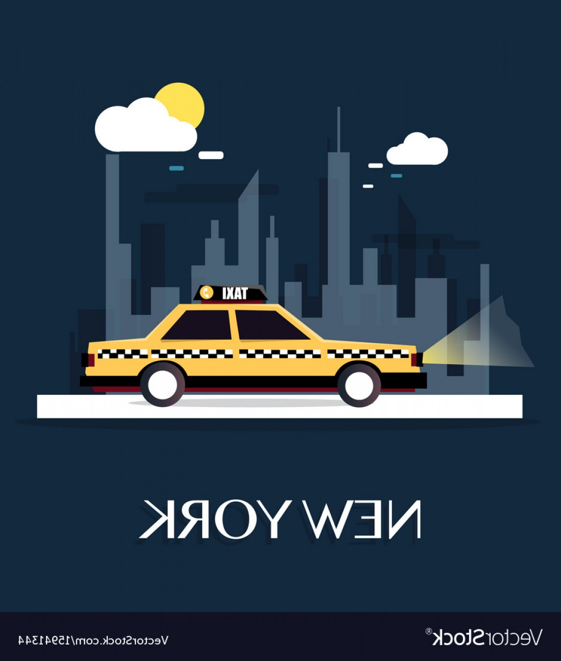 New York Taxi Cab Vector: Taxi Car With New York City Vector