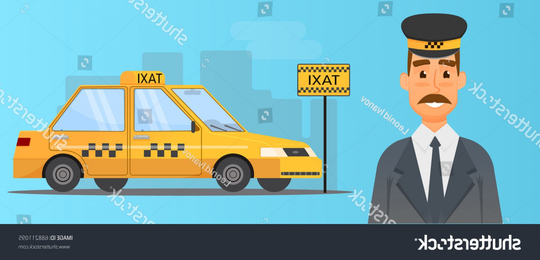 Vector Taxi Cab Driver: Taxi Driver Yellow Cab Vector Illustration