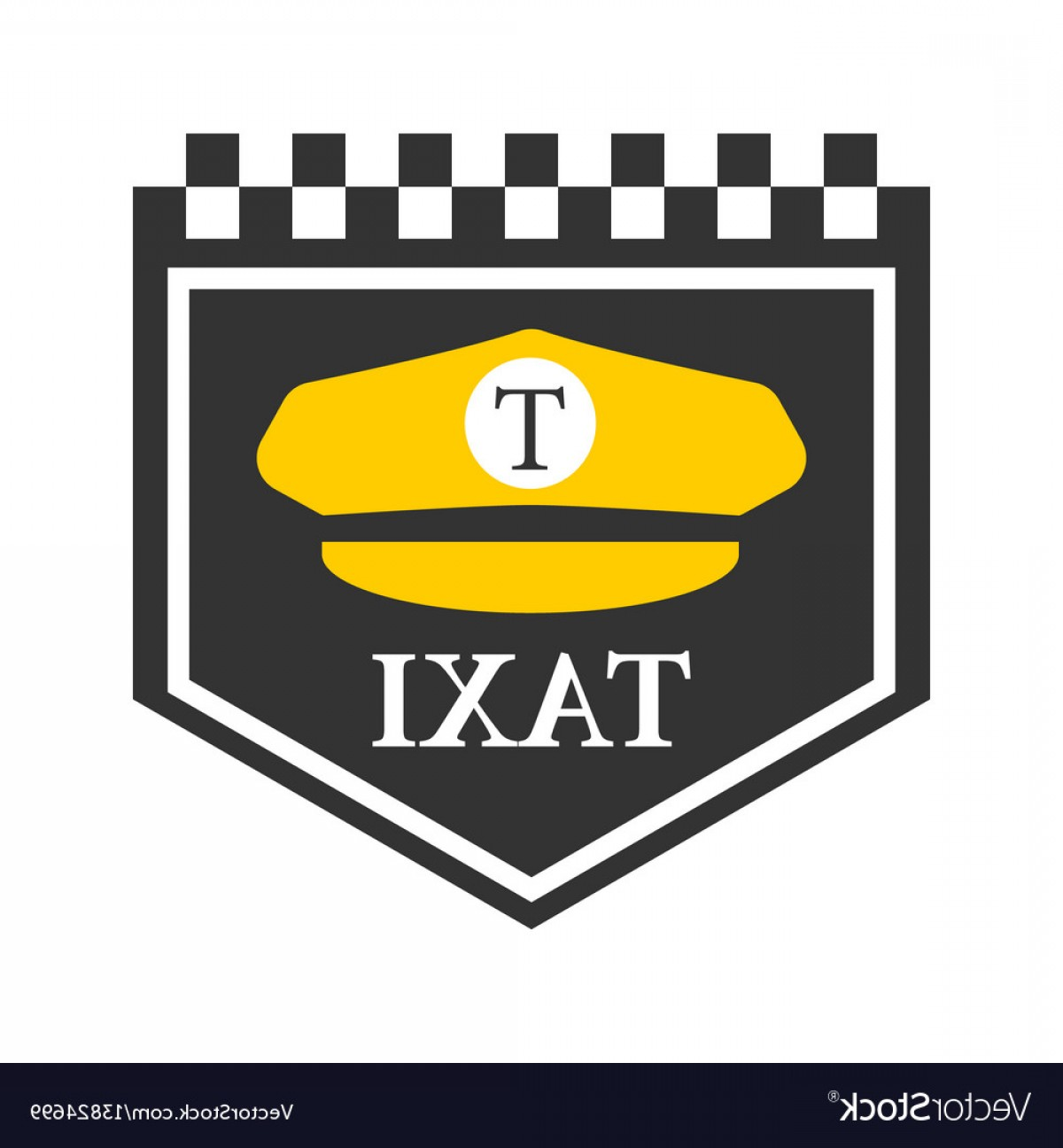 Taxi Checkers Vector: Taxi Logo With Black And White Checkers Driver Vector
