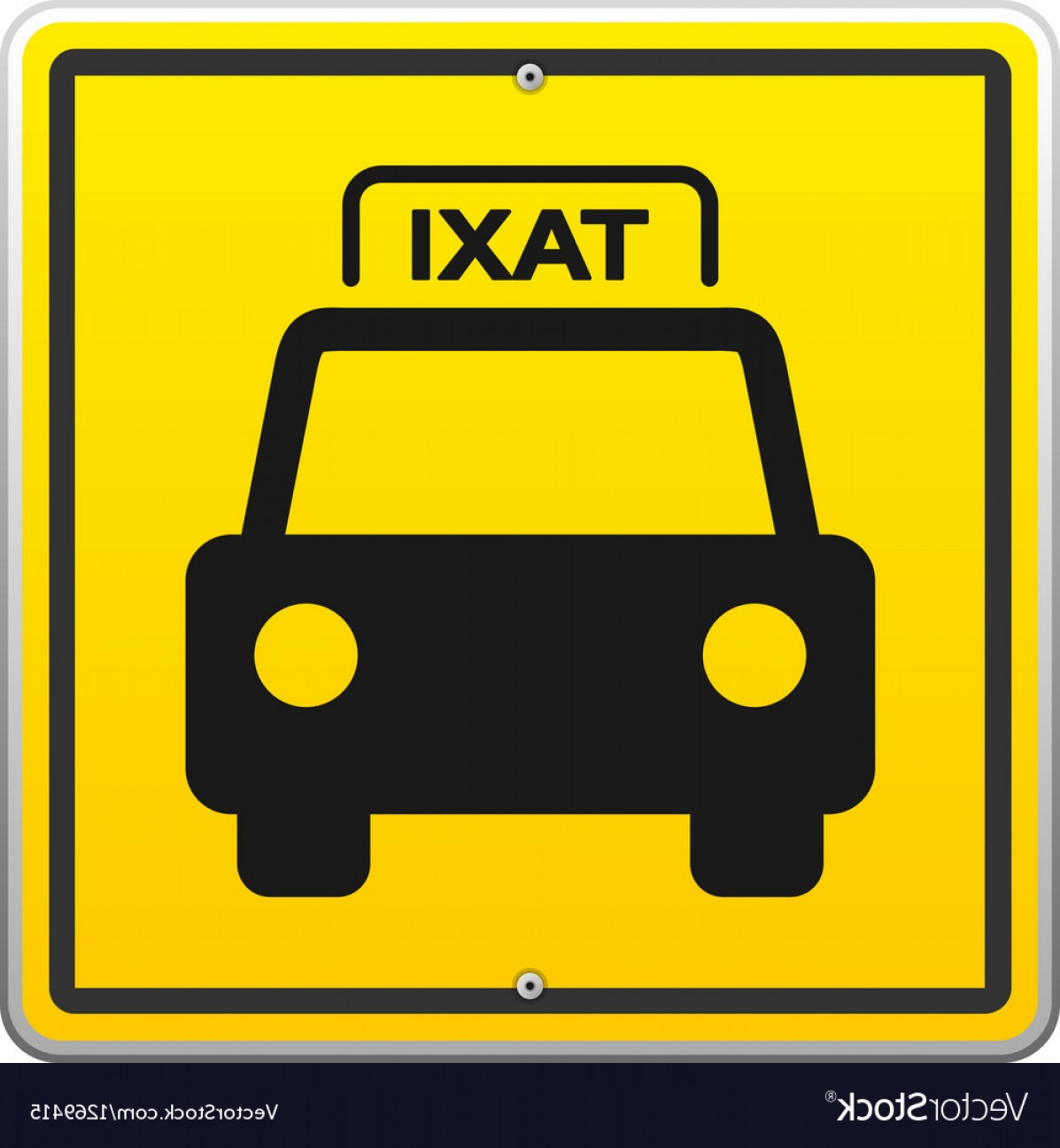 New York Taxi Cab Vector: Taxi Sign In New York Vector