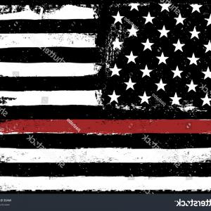 Thin Red Line Distressed Flag Vector: Universal Thin Red Line Flag Decal Set