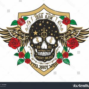 Skull Rose Vector Graphics: Tattoo Skull And Red Rose Vector Art