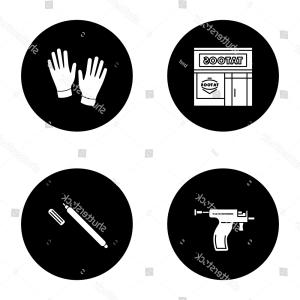 White Glove Service Vector: Tattoo Studio Glyph Icons Set Piercing