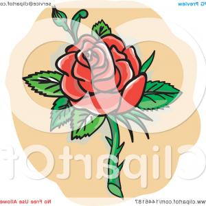 Thorny Vine Vector Clip Art: Tattoo Styled Red Rose With Thorns
