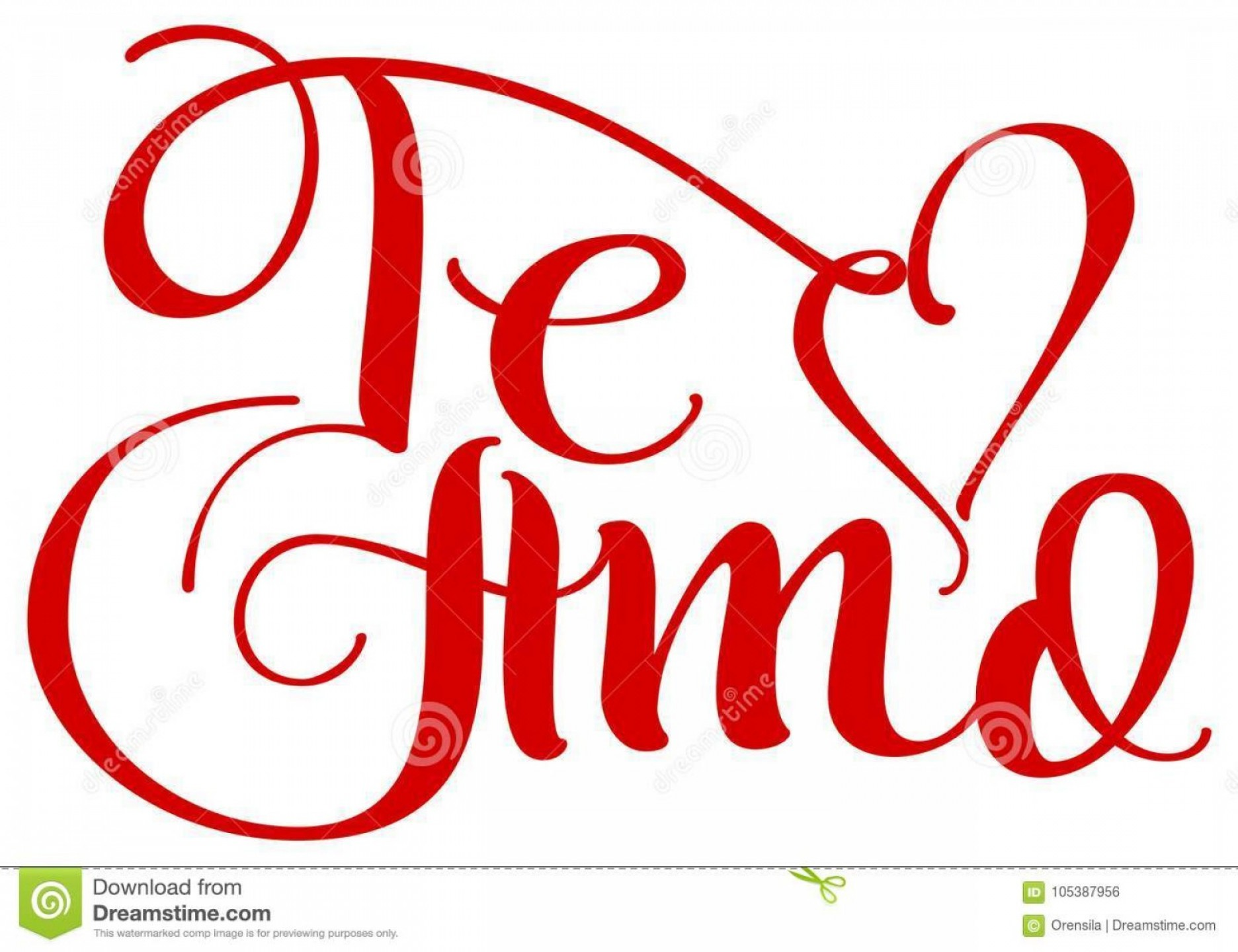 Vector Te Amos: Te Amo Translation Spain Language I Love You Handwritten Calligraphy Text Day Saint Valentine Isolated White Vector Image