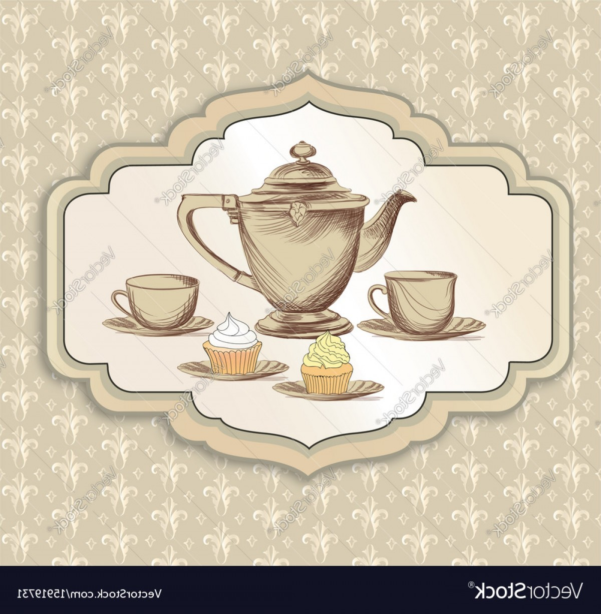 Vintage Tea Cup Vector: Tea Cup Kettle Retro Card Tea Time Vintage Vector