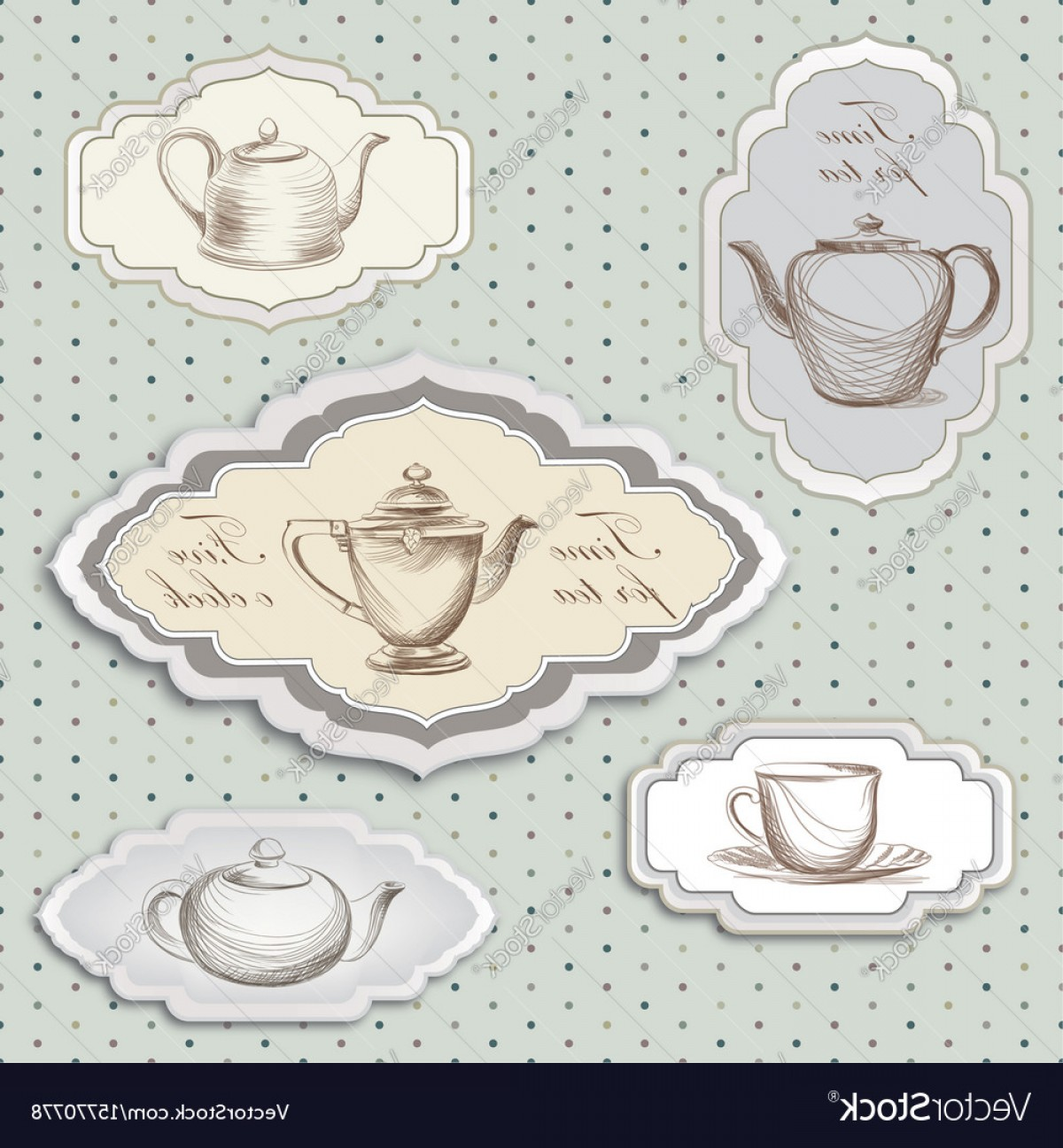 Vintage Tea Cup Vector: Tea Cup Pot Kettle Retro Card Tea Time Vintage Vector