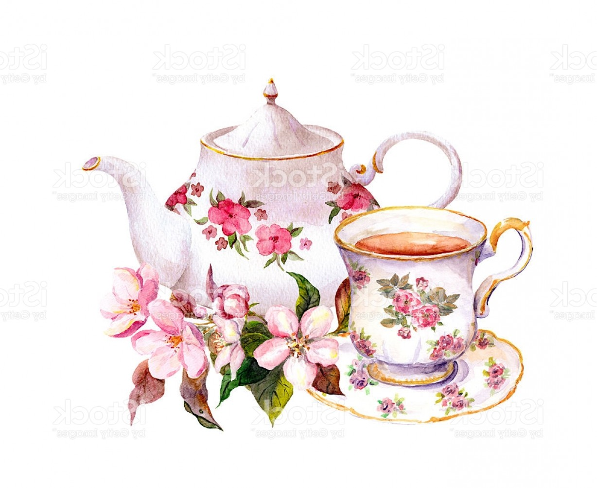Vintage Tea Cup Vector: Tea Cup Teapot With Flowers Vintage Watercolor Design Gm
