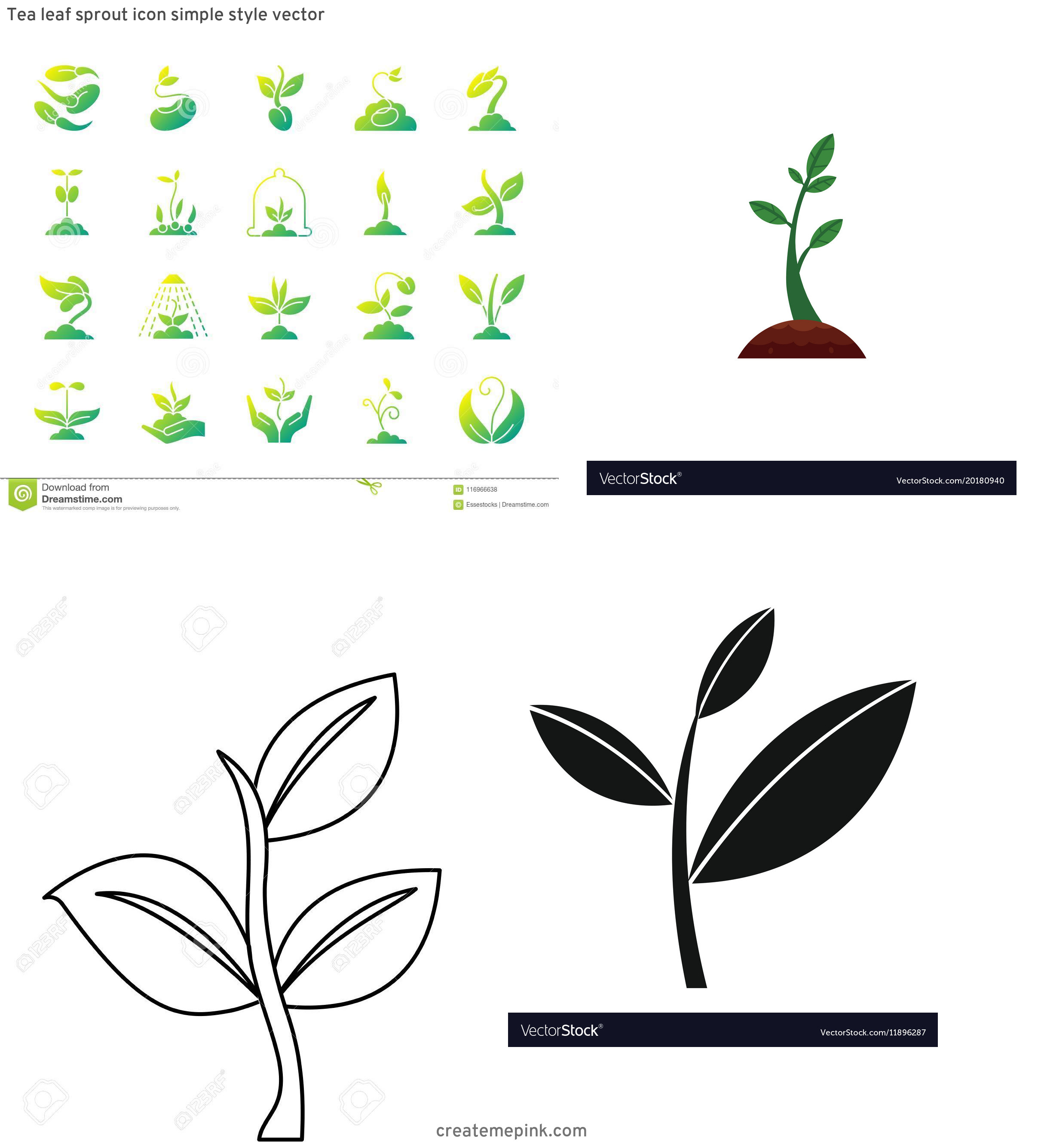 Sprout Icon Vector: Tea Leaf Sprout Icon Simple Style Vector