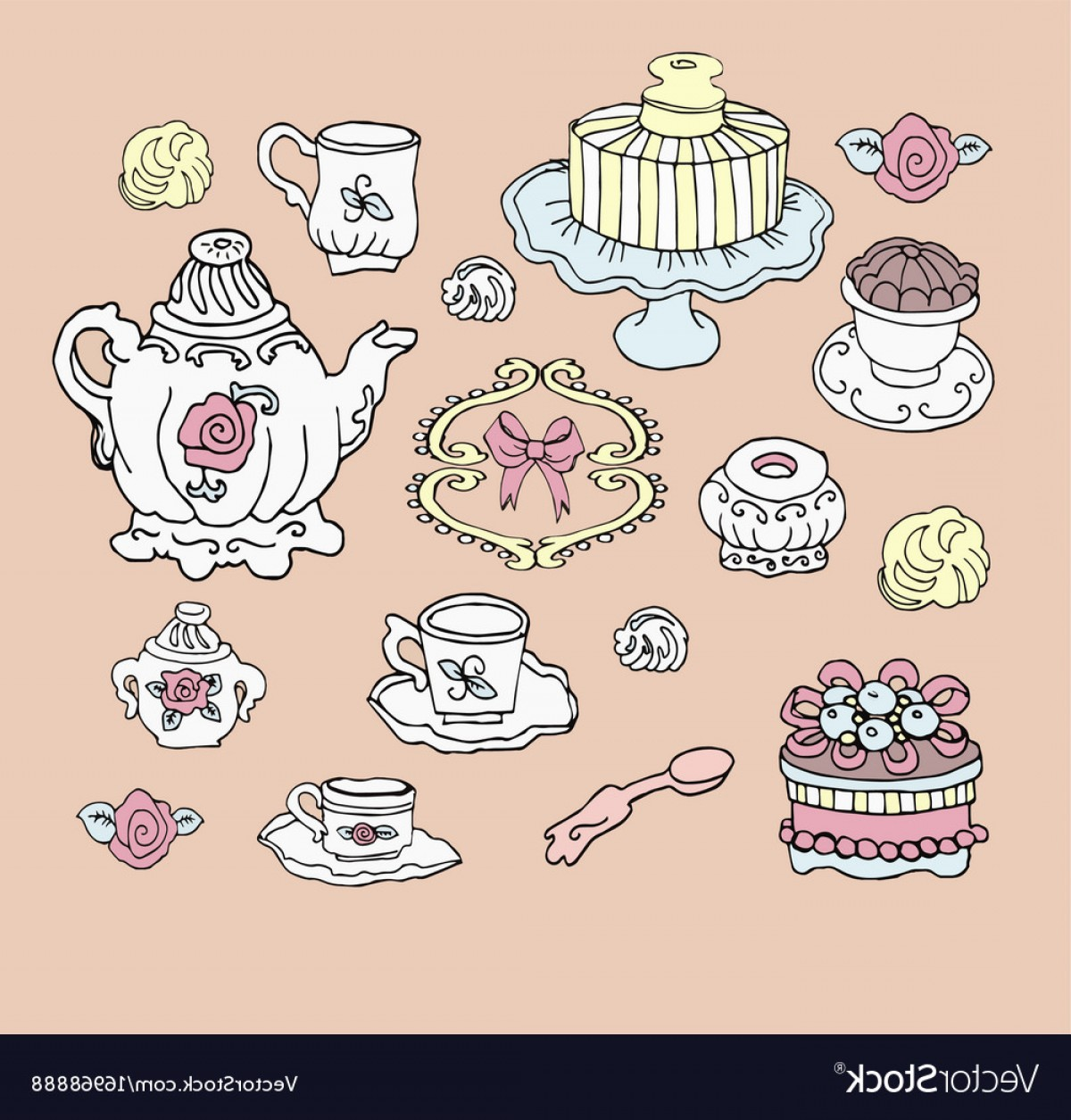 Cute Design Elements Vector Set: Tea Party Set Cute Design Elements Vector