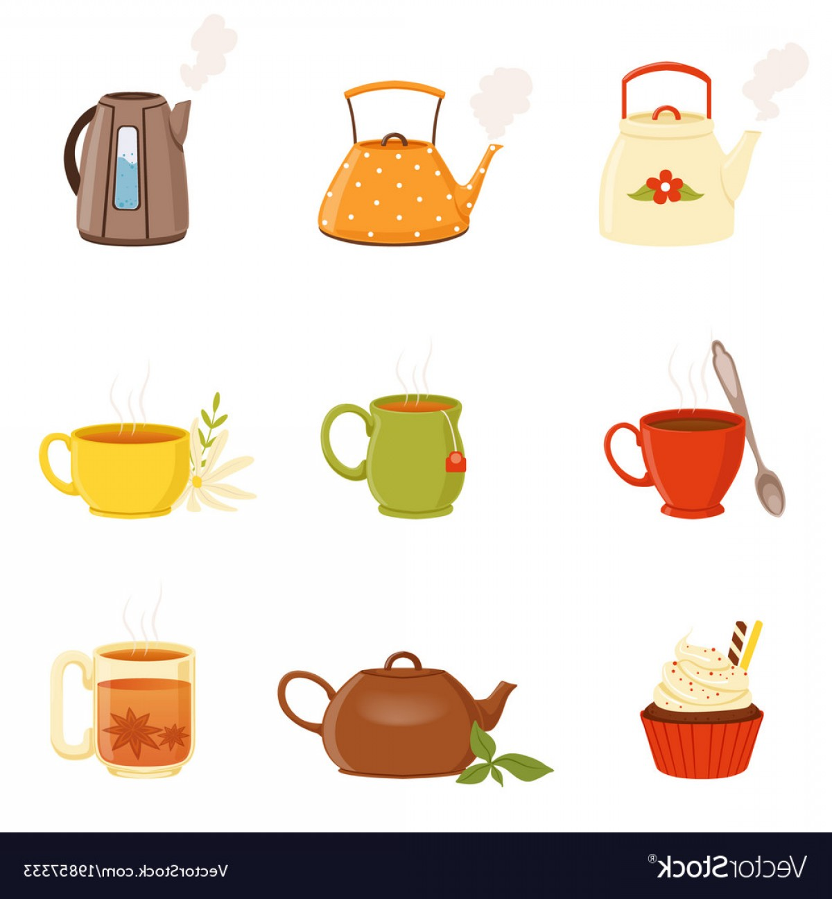 Tea Set Vector: Tea Set Various Kitchen Utensils Tea Cup And Vector