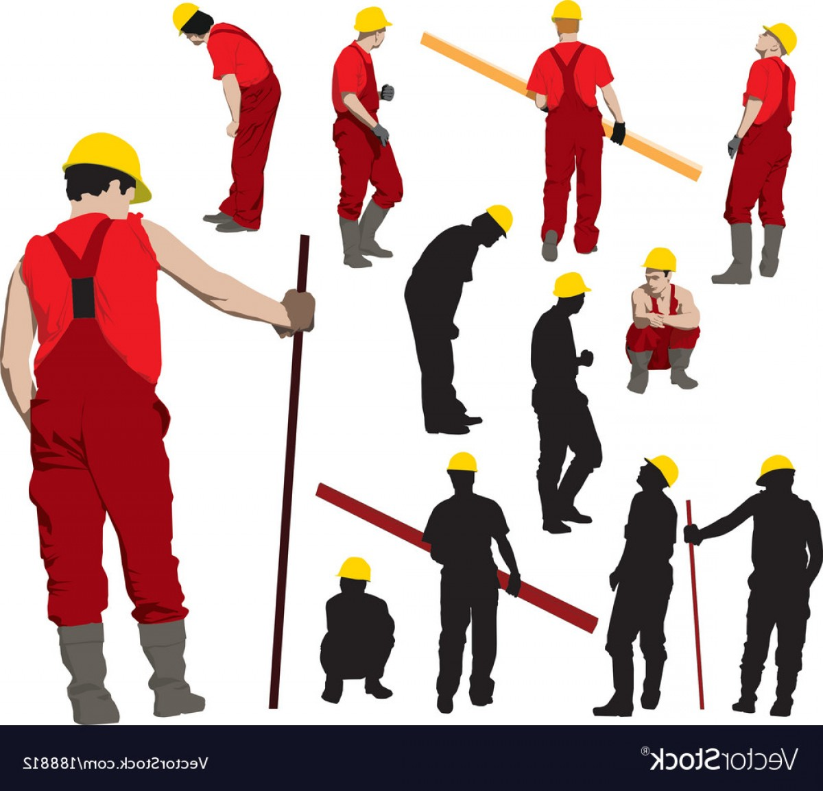 Worker Vector: Team Of Construction Workers Vector