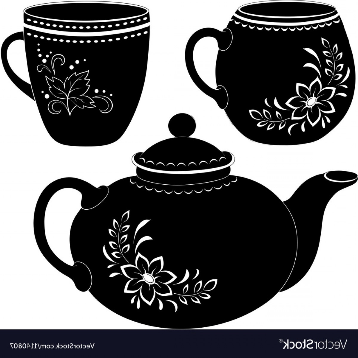 Teapot And Cup Vector: Teapot And Cups Silhouettes Vector