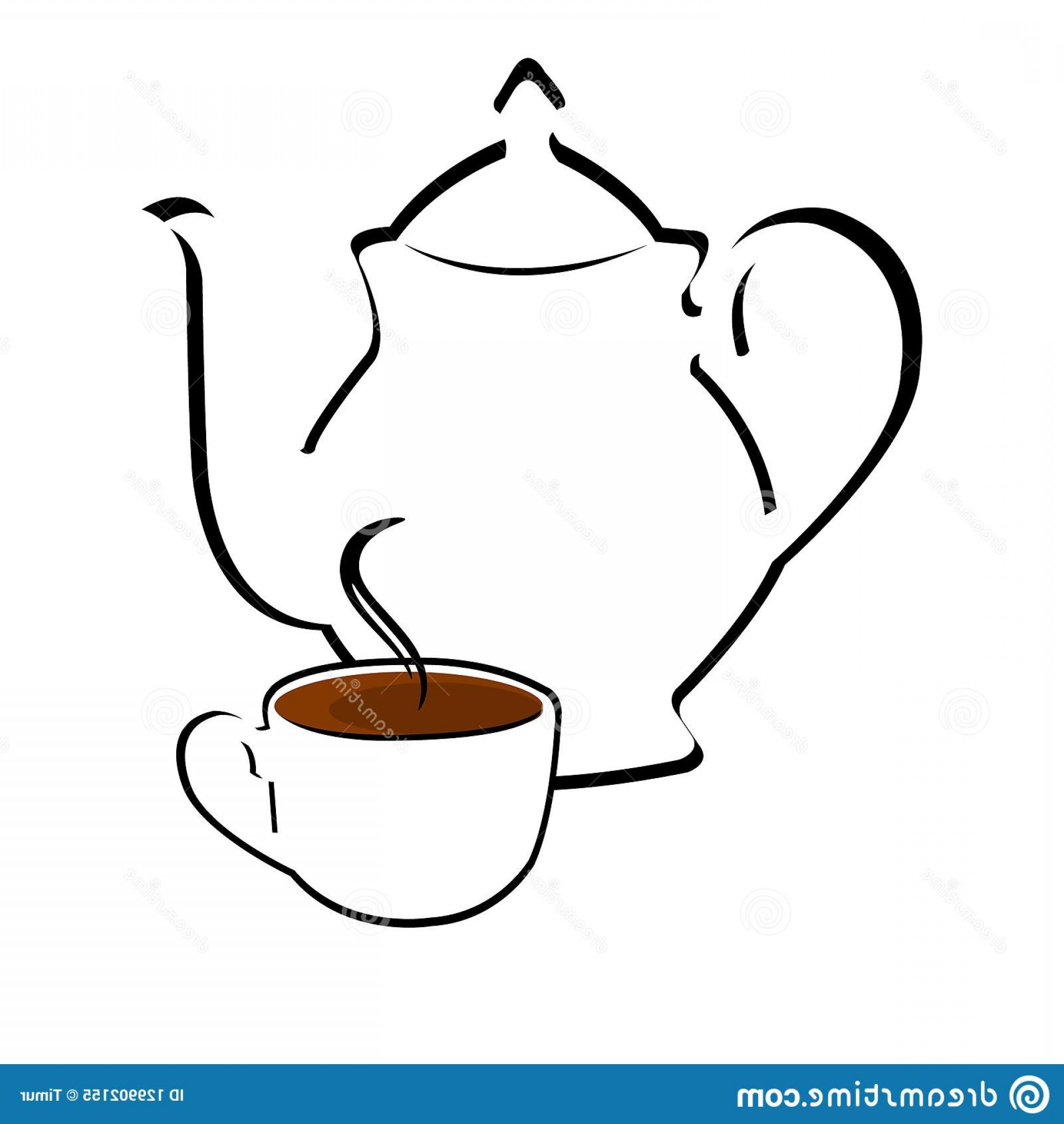 Teapot And Cup Vector: Teapot Cup Vector Illustration Stylized Vector Teapot Cup Tea Image