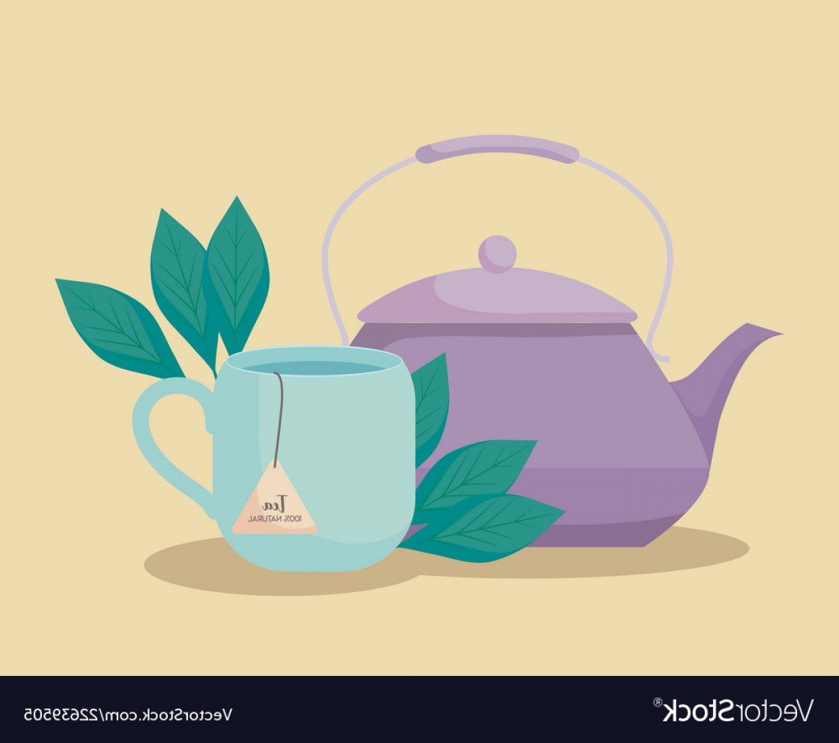 Teapot And Cup Vector: Teapot With Cup Of Tea Herbs Isolated Icon Vector
