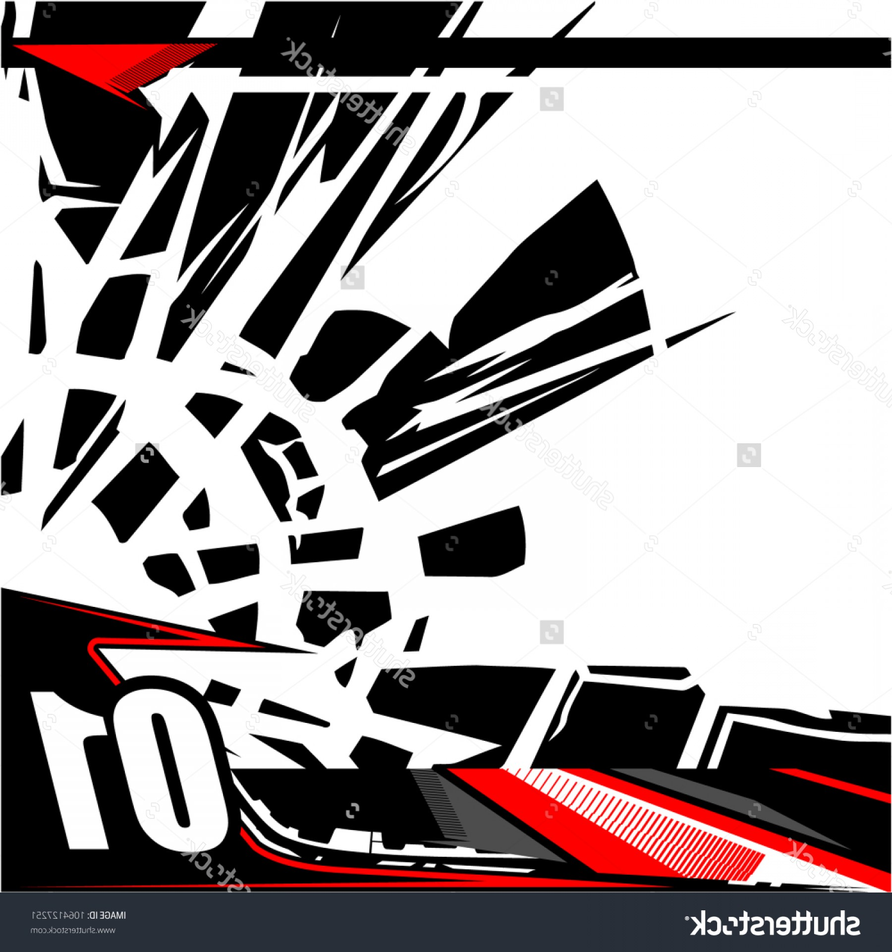 Black And White Vector Racing Graphics: Tech Shape Background Vector Racing Graphic