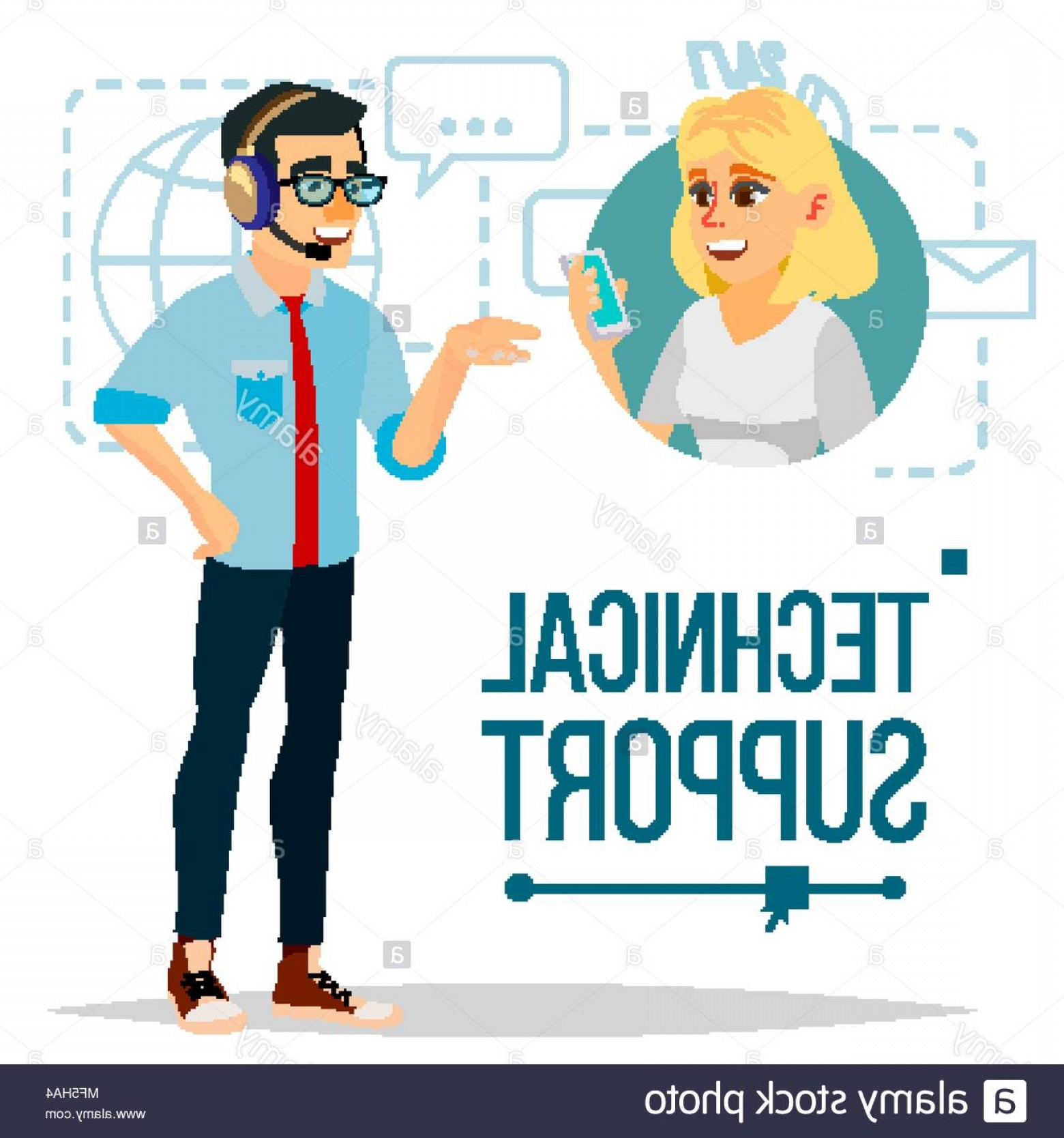 Support Vector Graphics: Technical Support Vector Support Working Online Tech Support Flat Isolated Illustration Image