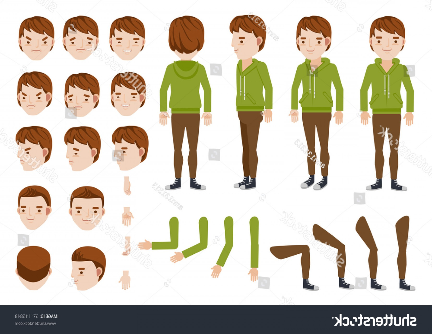Teenage Icons Vector: Teenage Boy Character Creation Set Icons