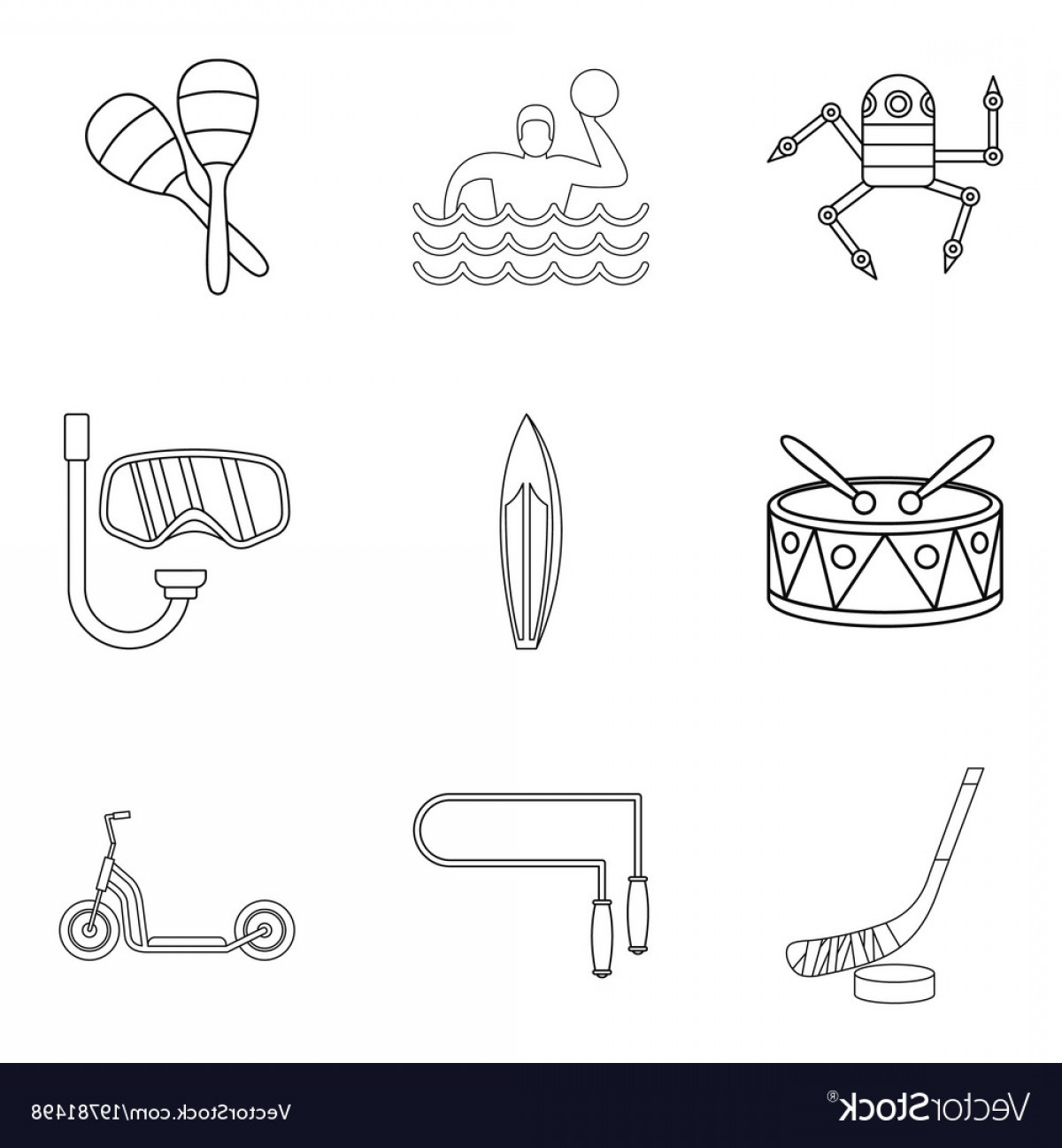 Teenage Icons Vector: Teenage Boy Icons Set Outline Style Vector