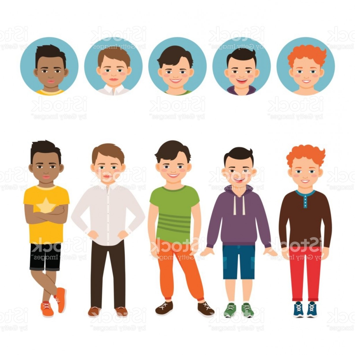 Teenage Icons Vector: Teenage Boy With Avatar Icons Set Gm