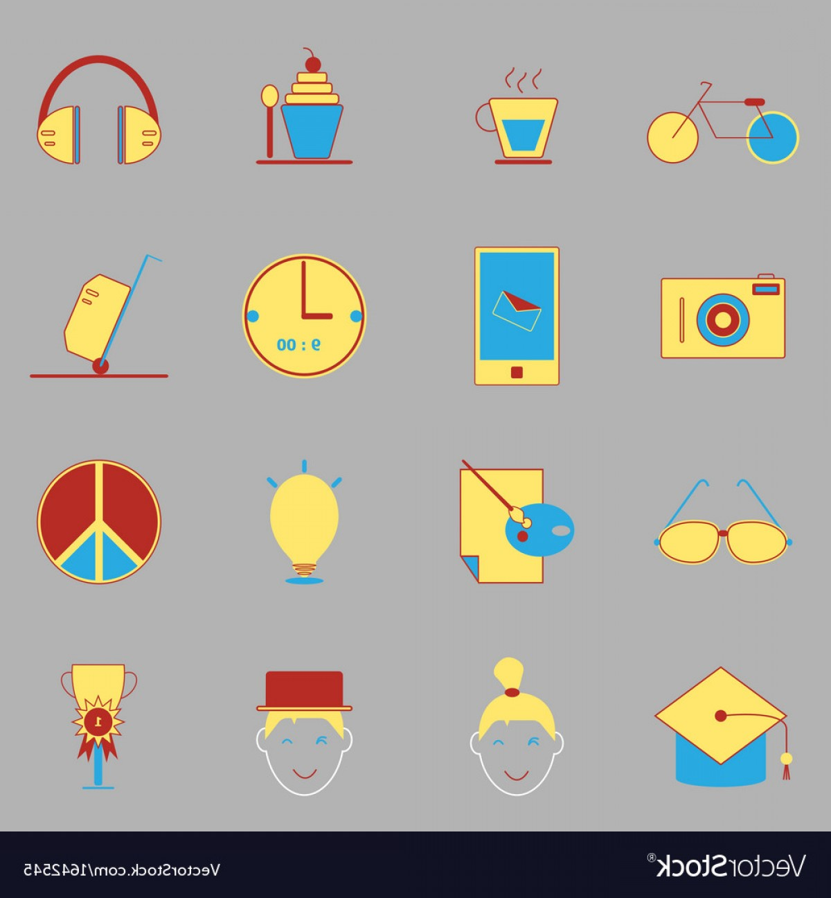 Teenage Icons Vector: Teenage Color Icons On Gray Background Vector