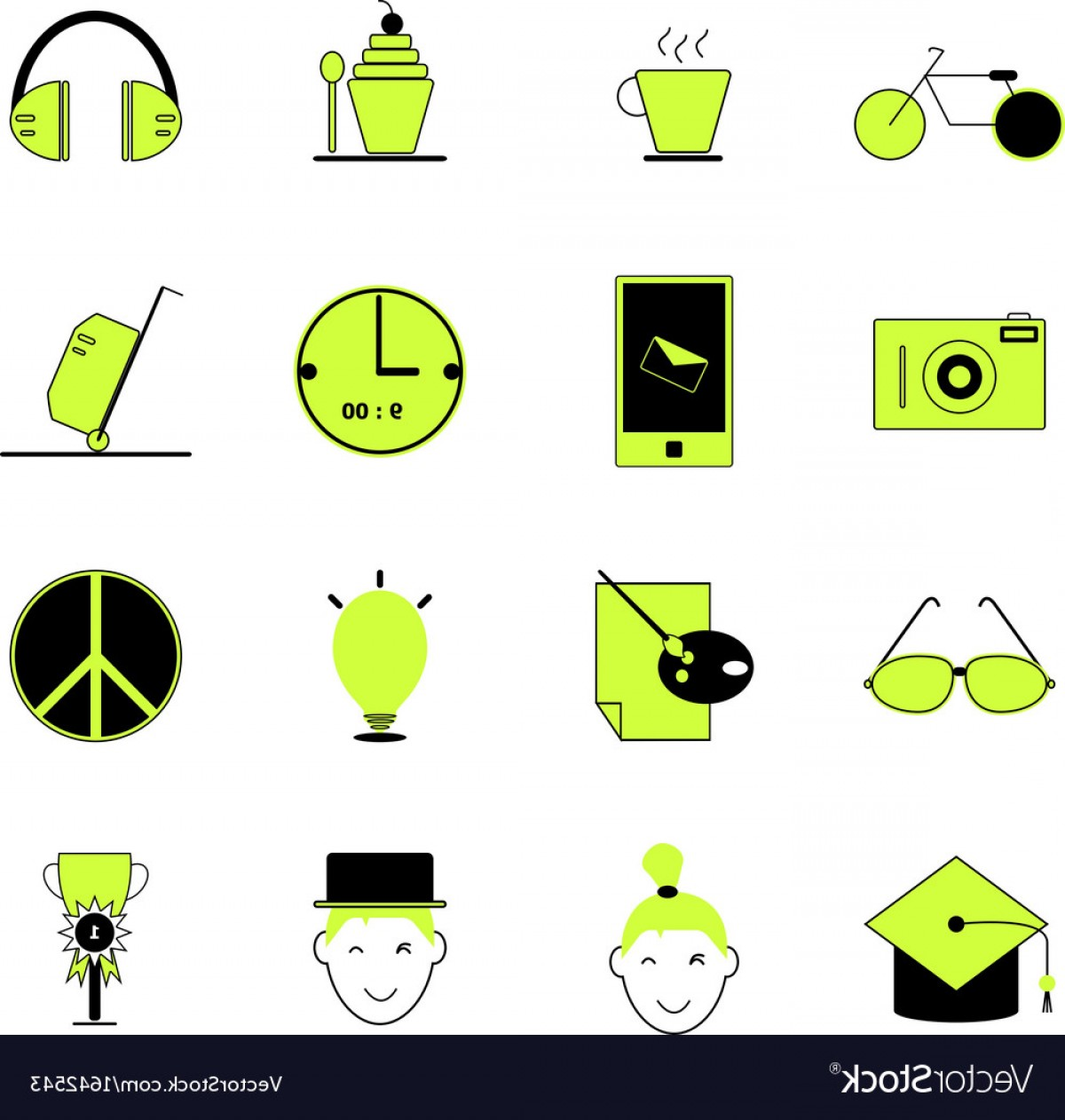 Teenage Icons Vector: Teenage Icons Of Green And Black Color Vector