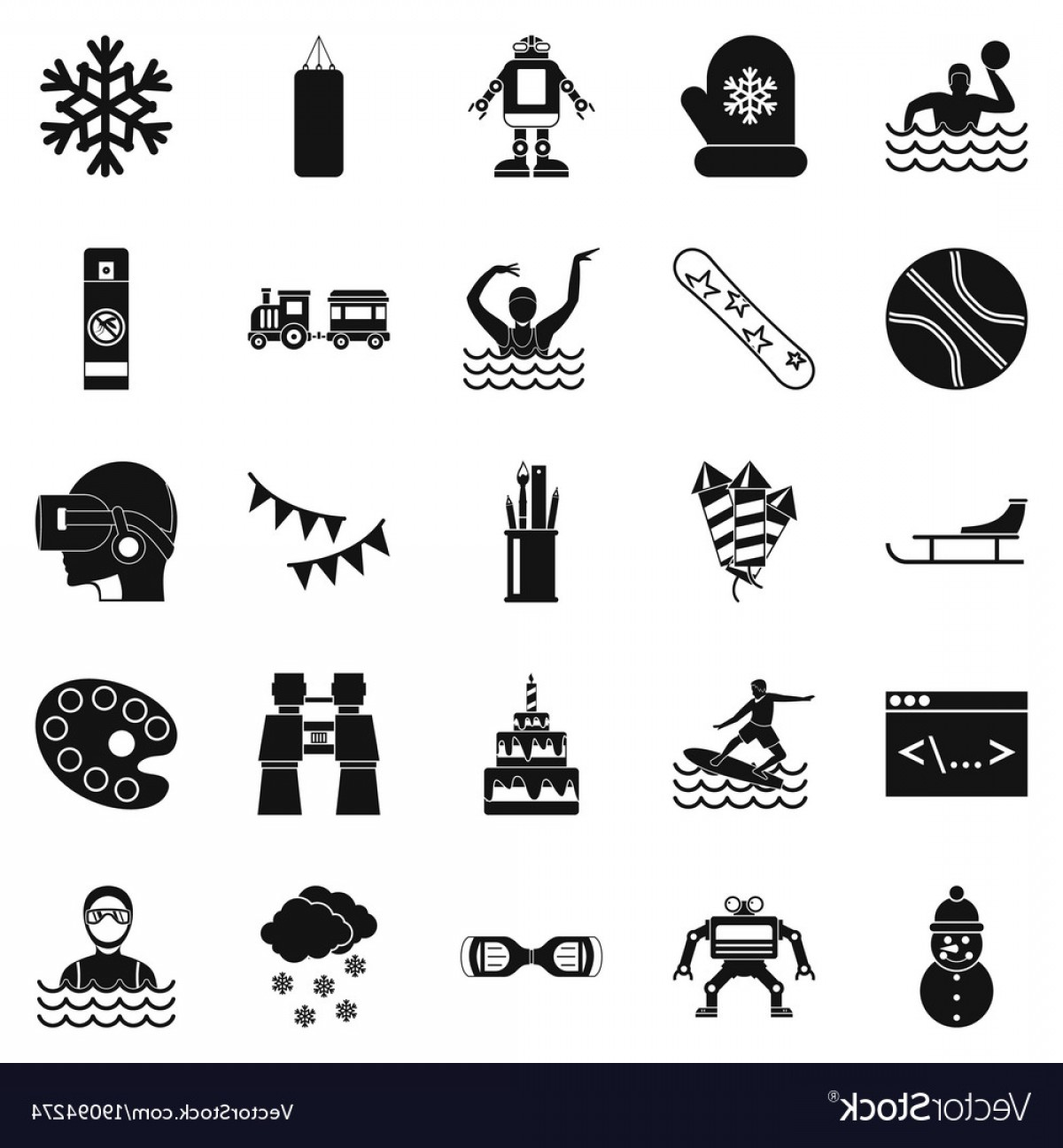 Teenage Icons Vector: Teenage Sport Icons Set Simple Style Vector