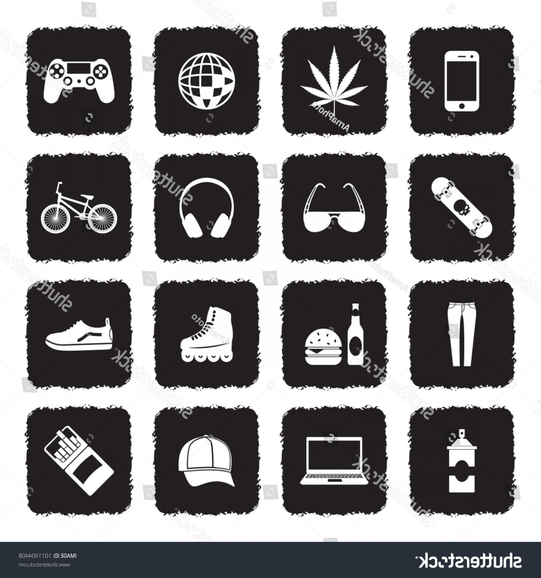 Teenage Icons Vector: Teenager Icons Grunge Black Flat Design