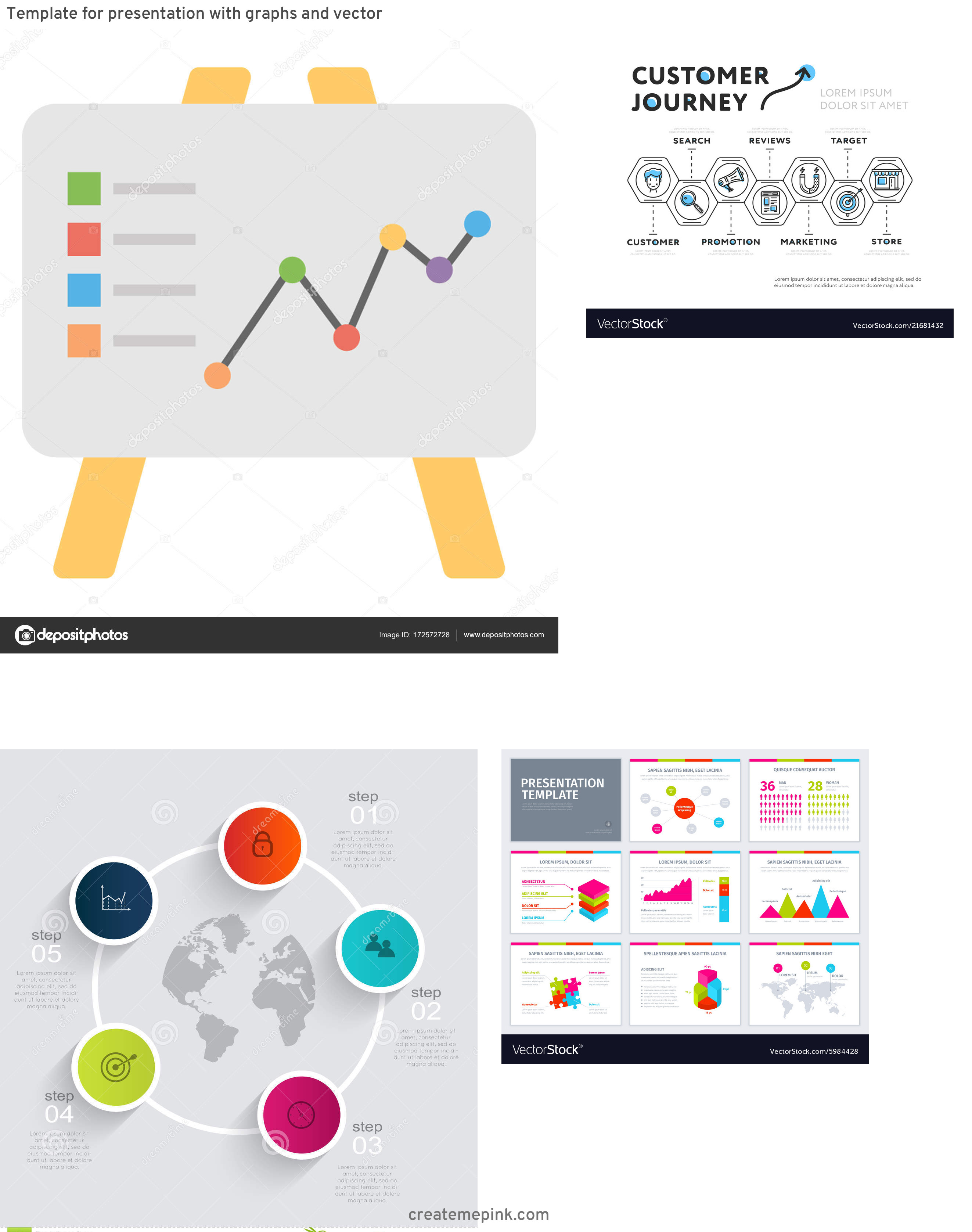 Vector Graphic Presentation: Template For Presentation With Graphs And Vector