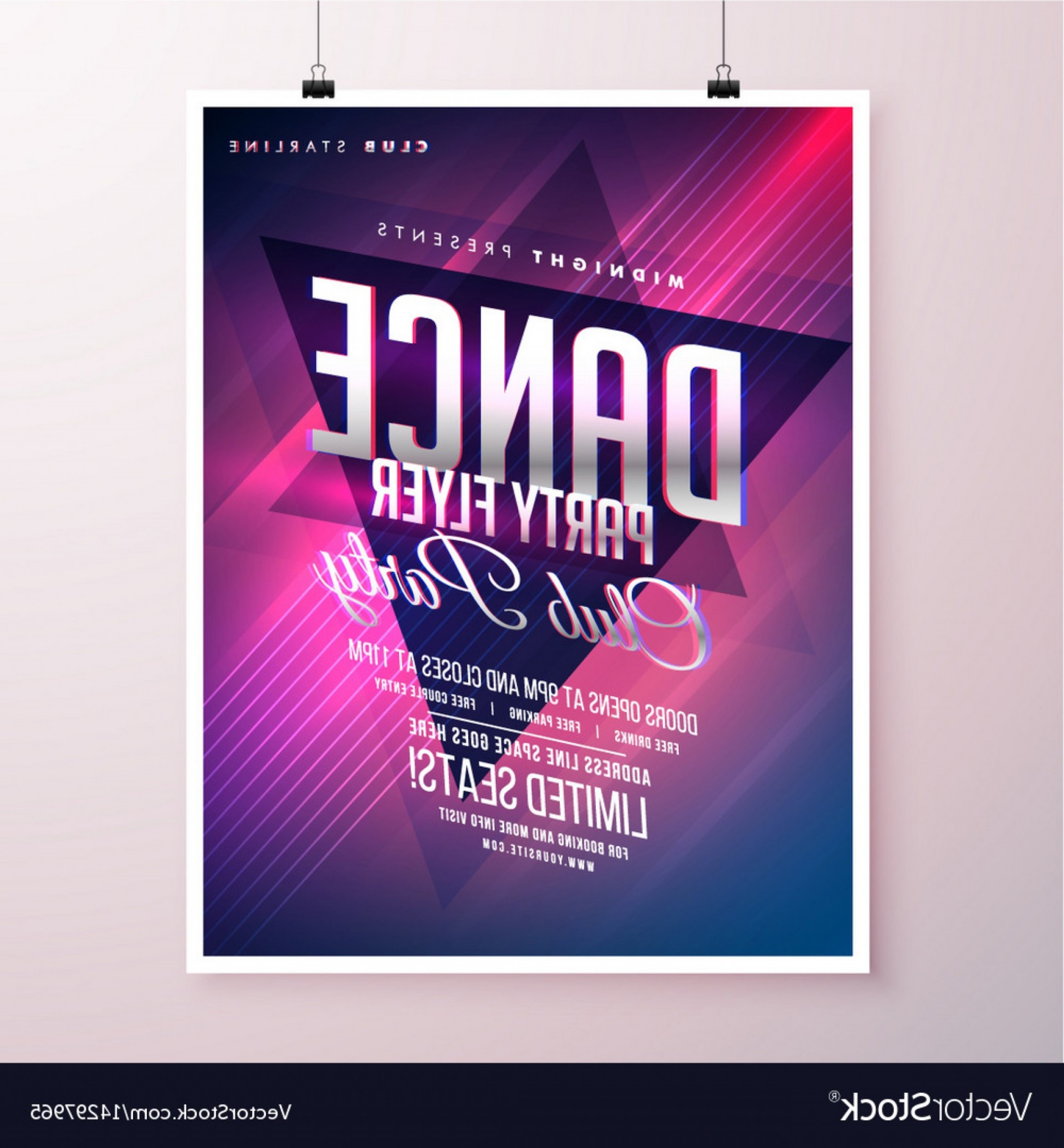 Club Flyer Vector: Template Ideas Night Club Flyers Templates Dance Party Flyer Vector