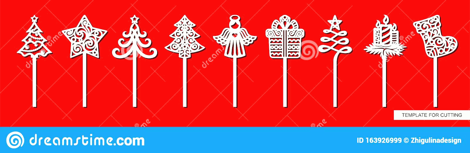 Vector Christmas Toppers: Template Laser Cutting Wood Carving Paper Cut Printing Vector Illustration Set New Years Decorations Toppers Cakes Image