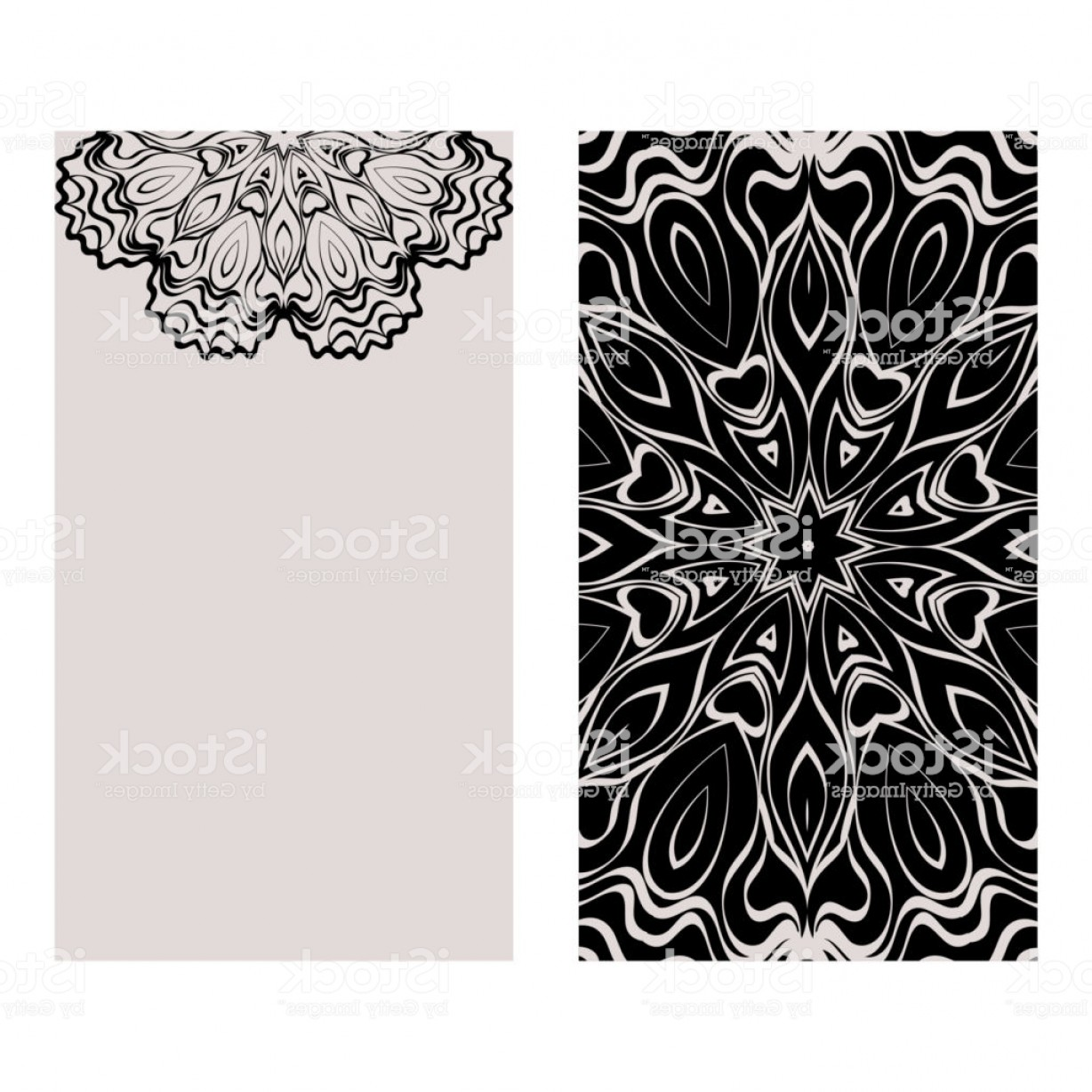 Black And White Flyer Vectors: Templates Card With Mandala Design Heathcare Lifestyle Flyer Vector Illustration Gm