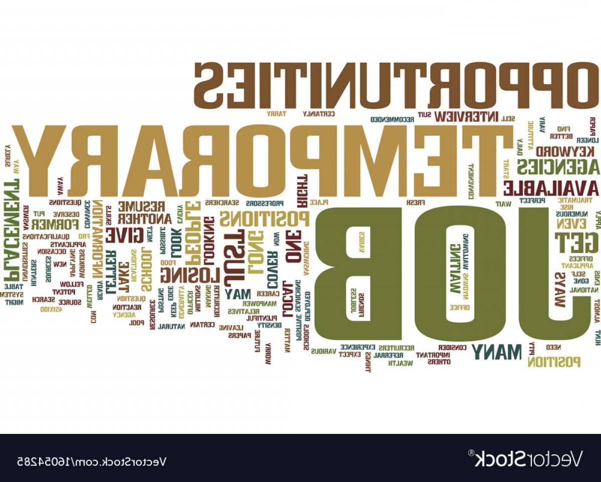 Vector Job Opportunities: Temporary Job Opportunities Text Background Word Vector