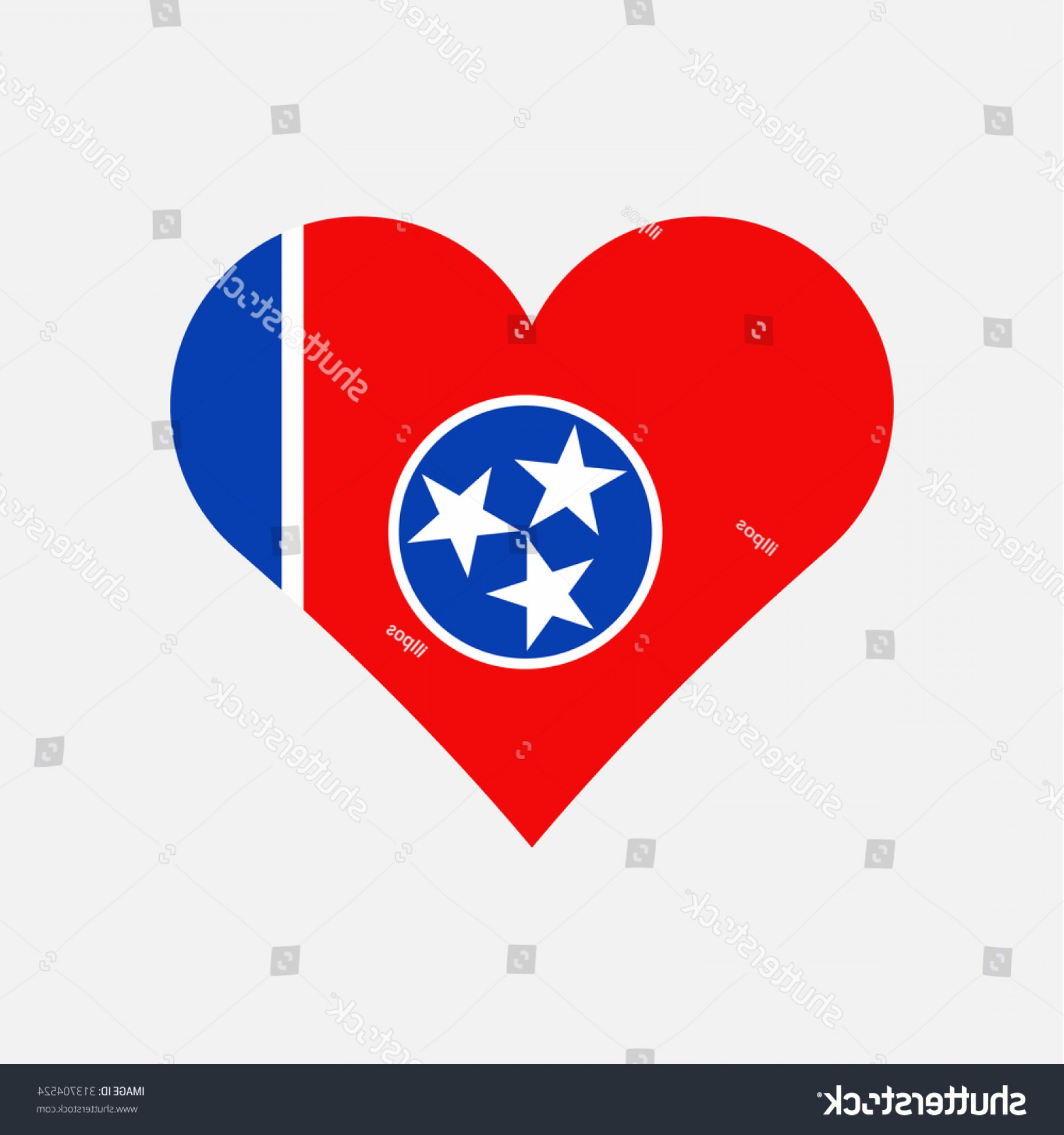 Tennessee Flag Vector: Tennessee Flag Heart Love Country State