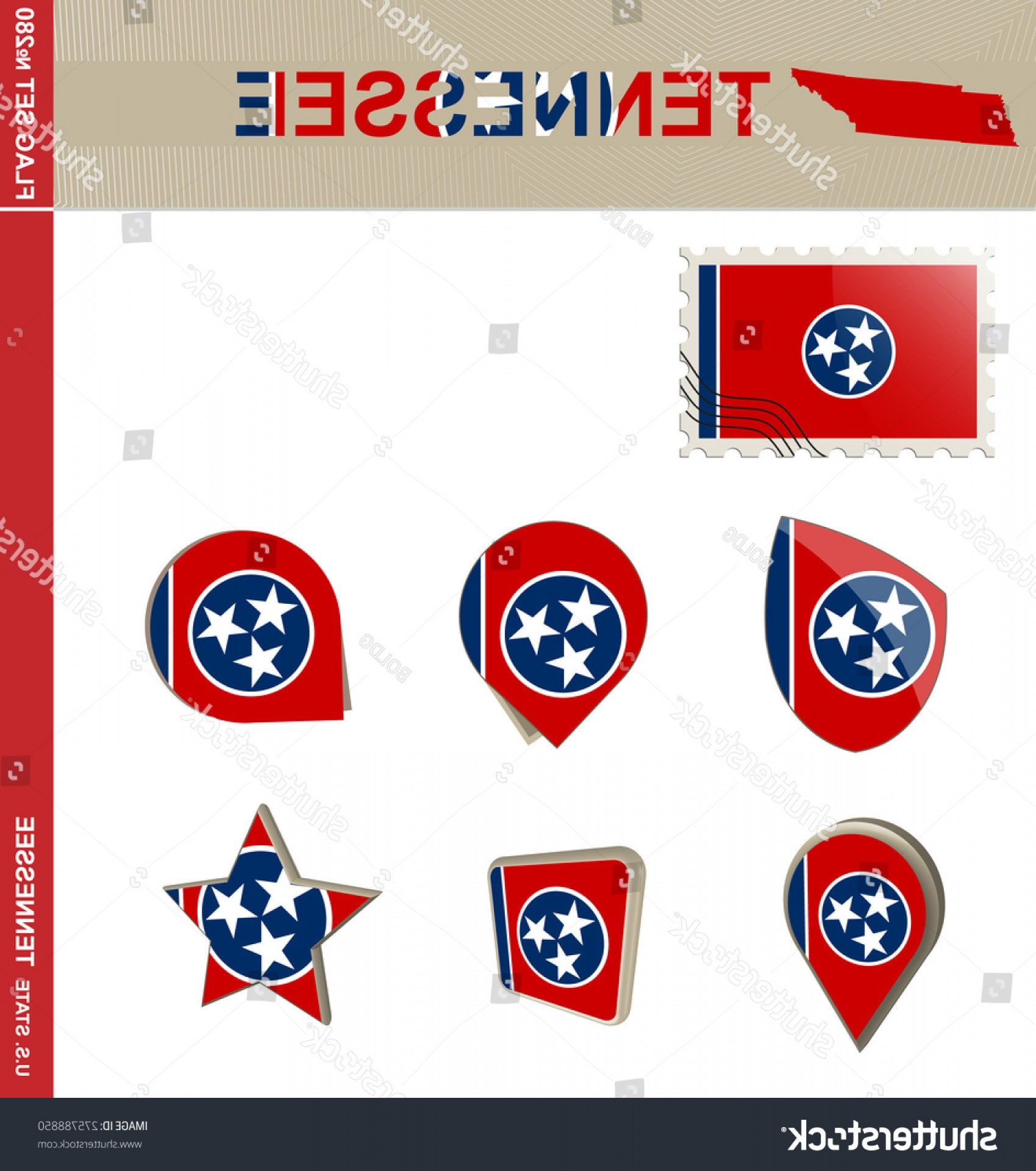 Tennessee Flag Vector: Tennessee Flag Set Us State