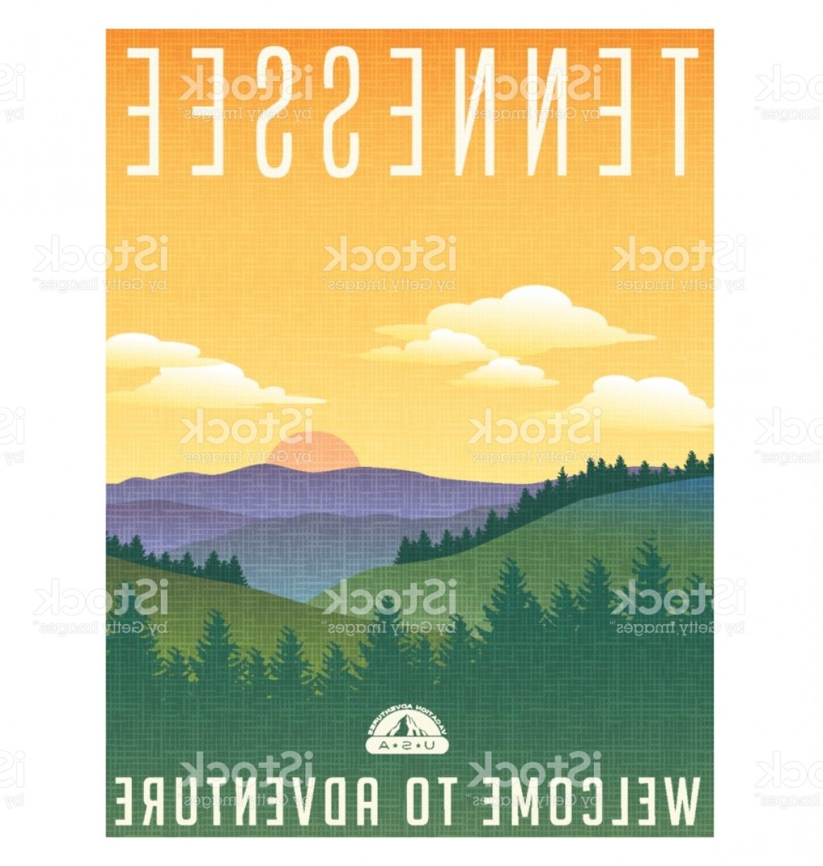 Appalachia Vector: Tennessee United States Travel Poster Or Luggage Sticker Scenic Illustration Of The Gm