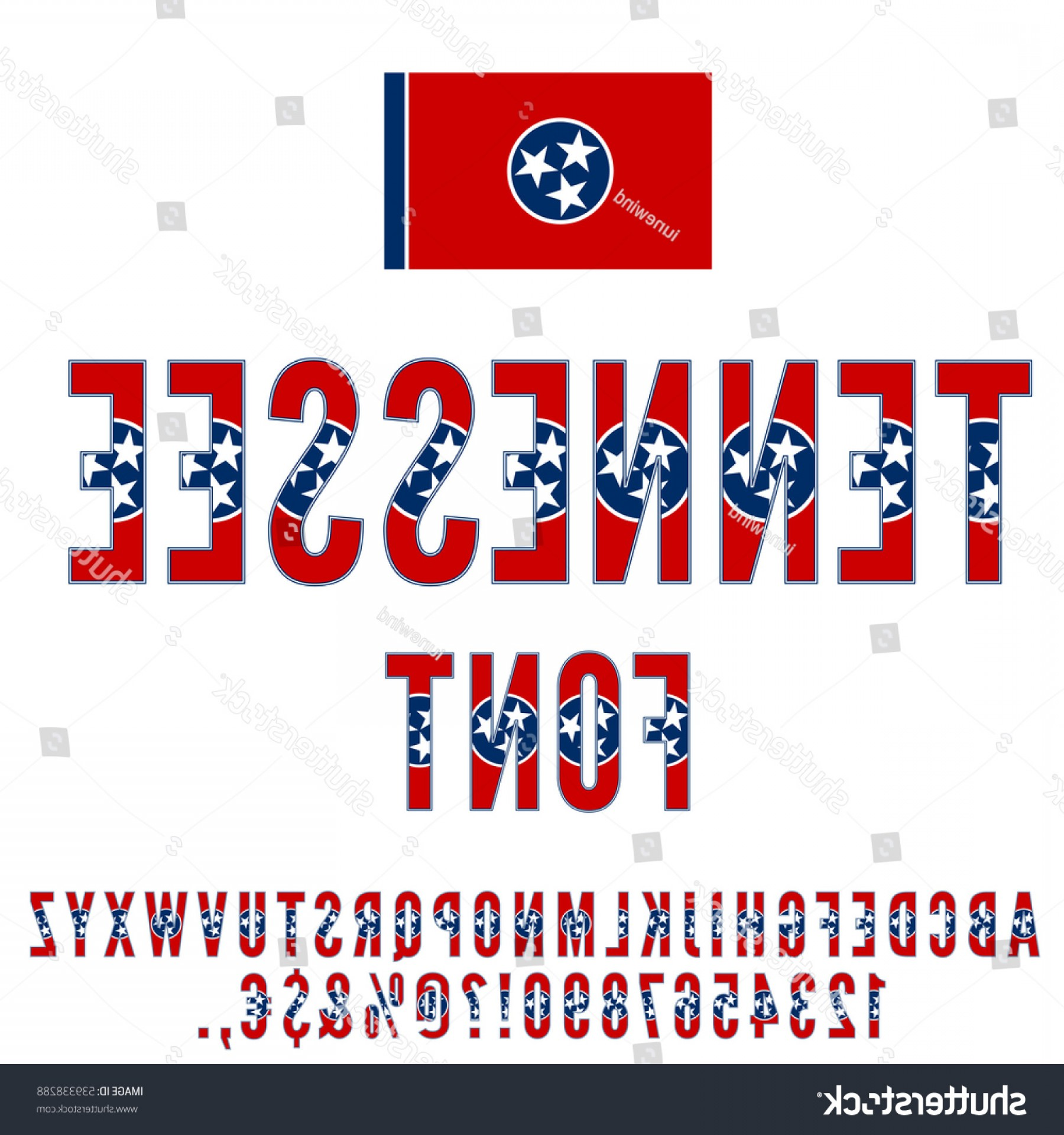 Tennessee Flag Vector: Tennessee Usa State Flag Font Alphabet