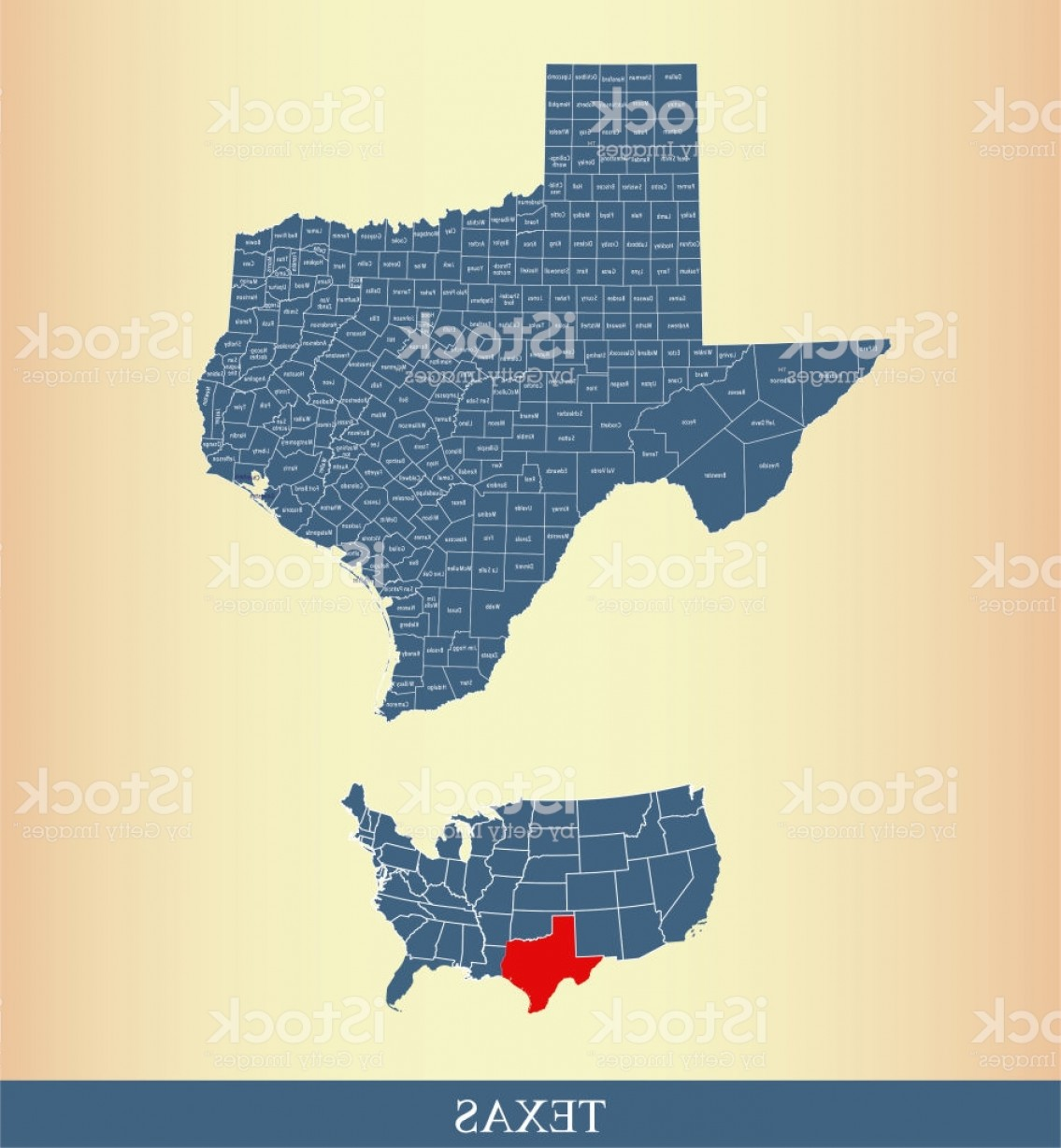 Texas Counties Map Vector: Texas County Map Outline Vector Illustration Highlighted On Usa Map With Counties Gm