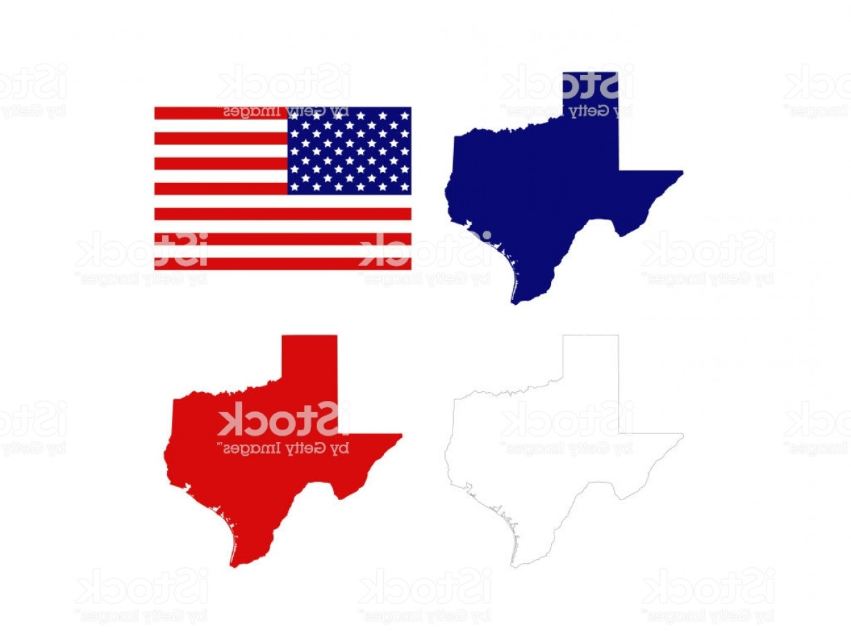 Texas American Flag Vector: Texas Maps With Usa Flag Gm