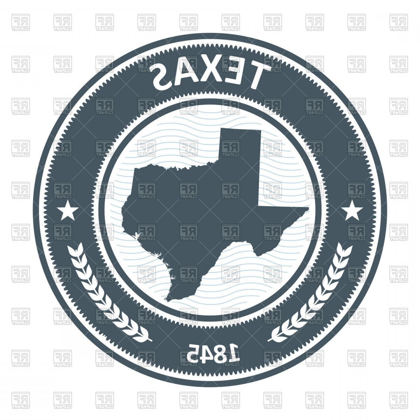 Texas Clip Art Vector: Texas Stamp With State Map Silhouette Vector Clipart